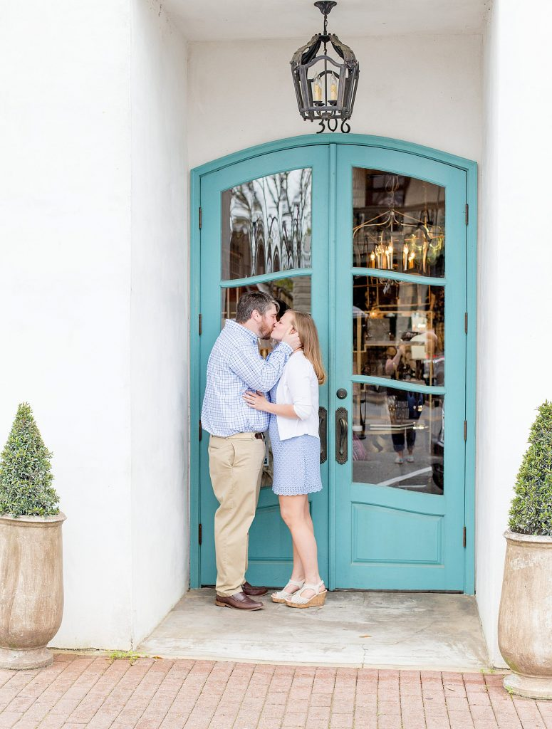 Fairhope AL engagement session by teal green door photographed by luxury Gulf Coast wedding photographers Goodie and Smith Weddings