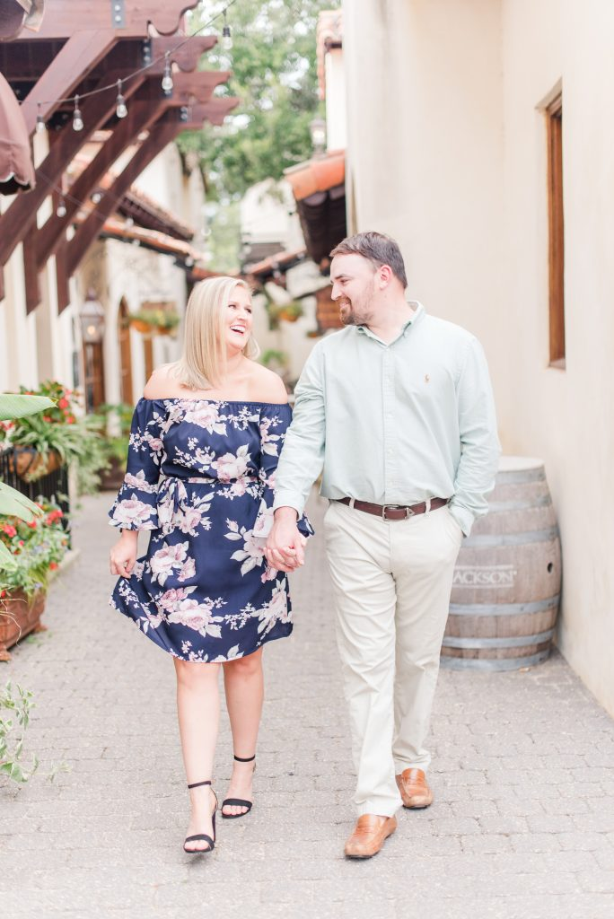 Engagement Session at the Alley in Fairhope, Alabama