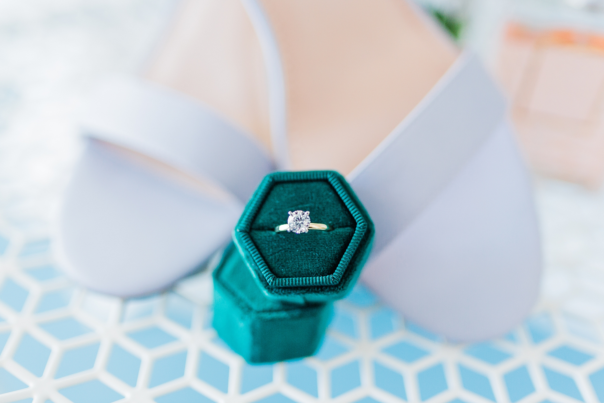 engagement ring in emerald ring box
