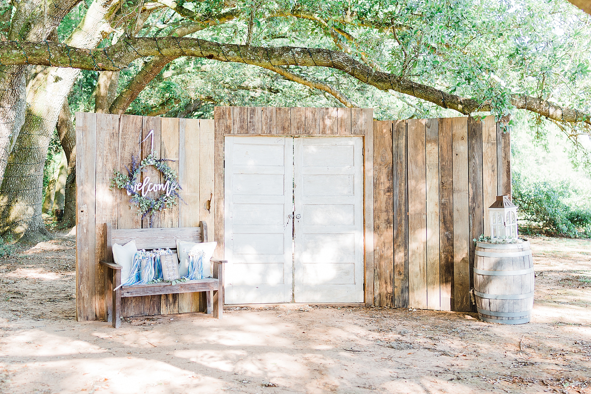 wedding ceremony in Fairhope AL with wooden doors