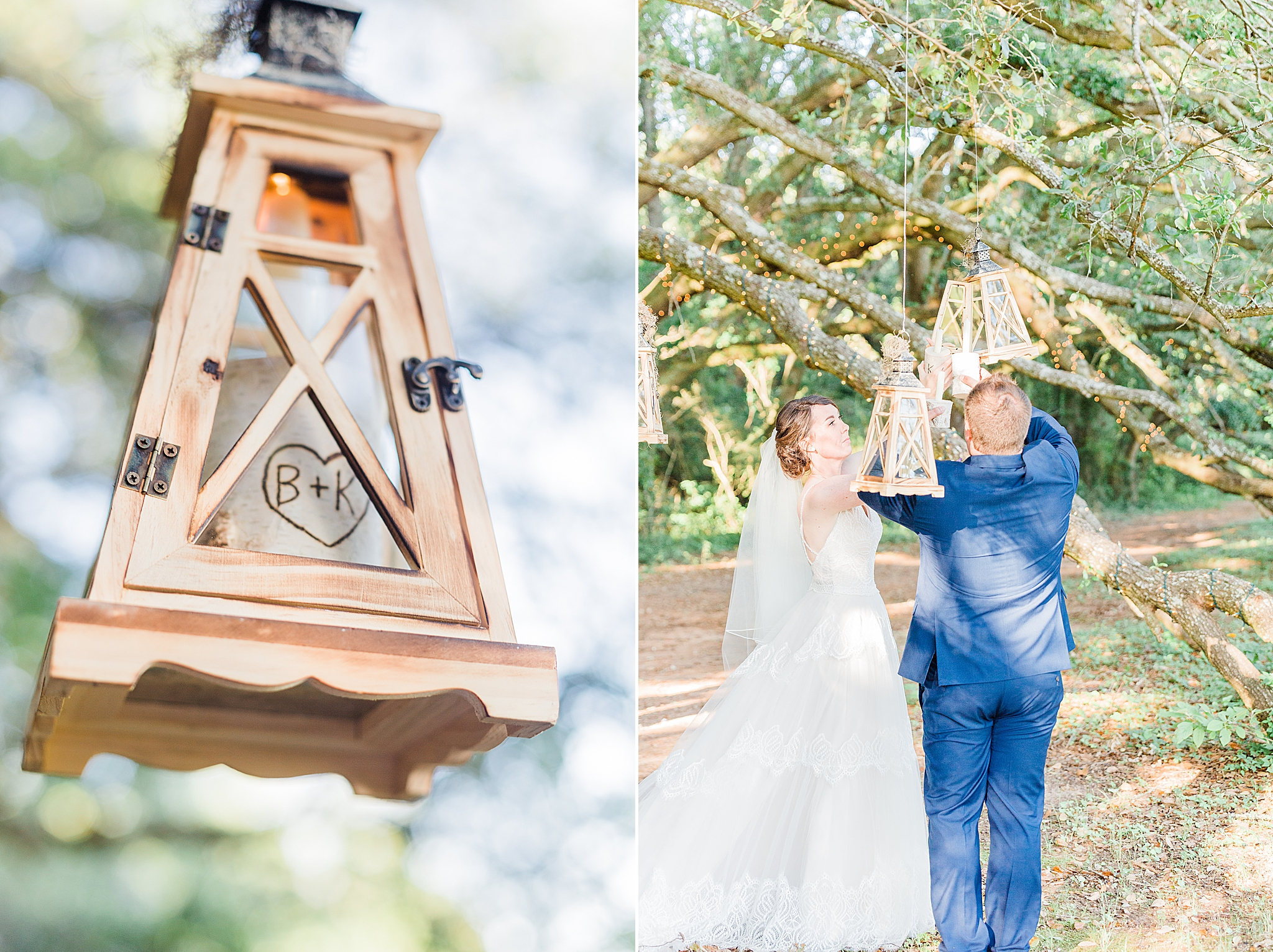 bride and groom place wooden lantern in tree during ceremony