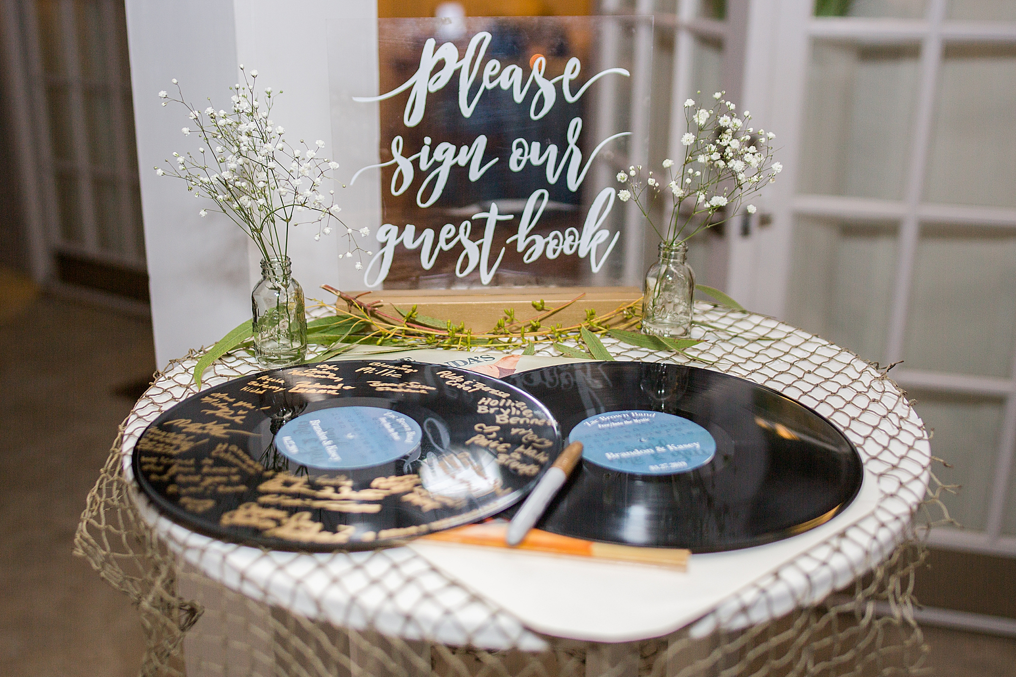 guest book on vintage records for AL wedding reception