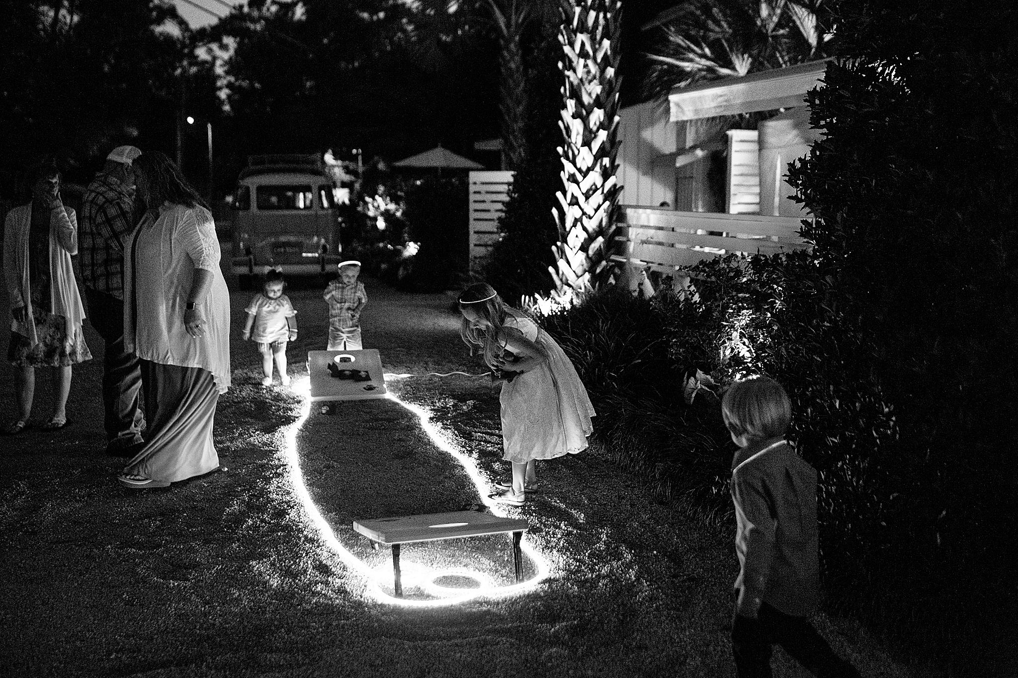 nighttime wedding reception fun in Fairhope AL