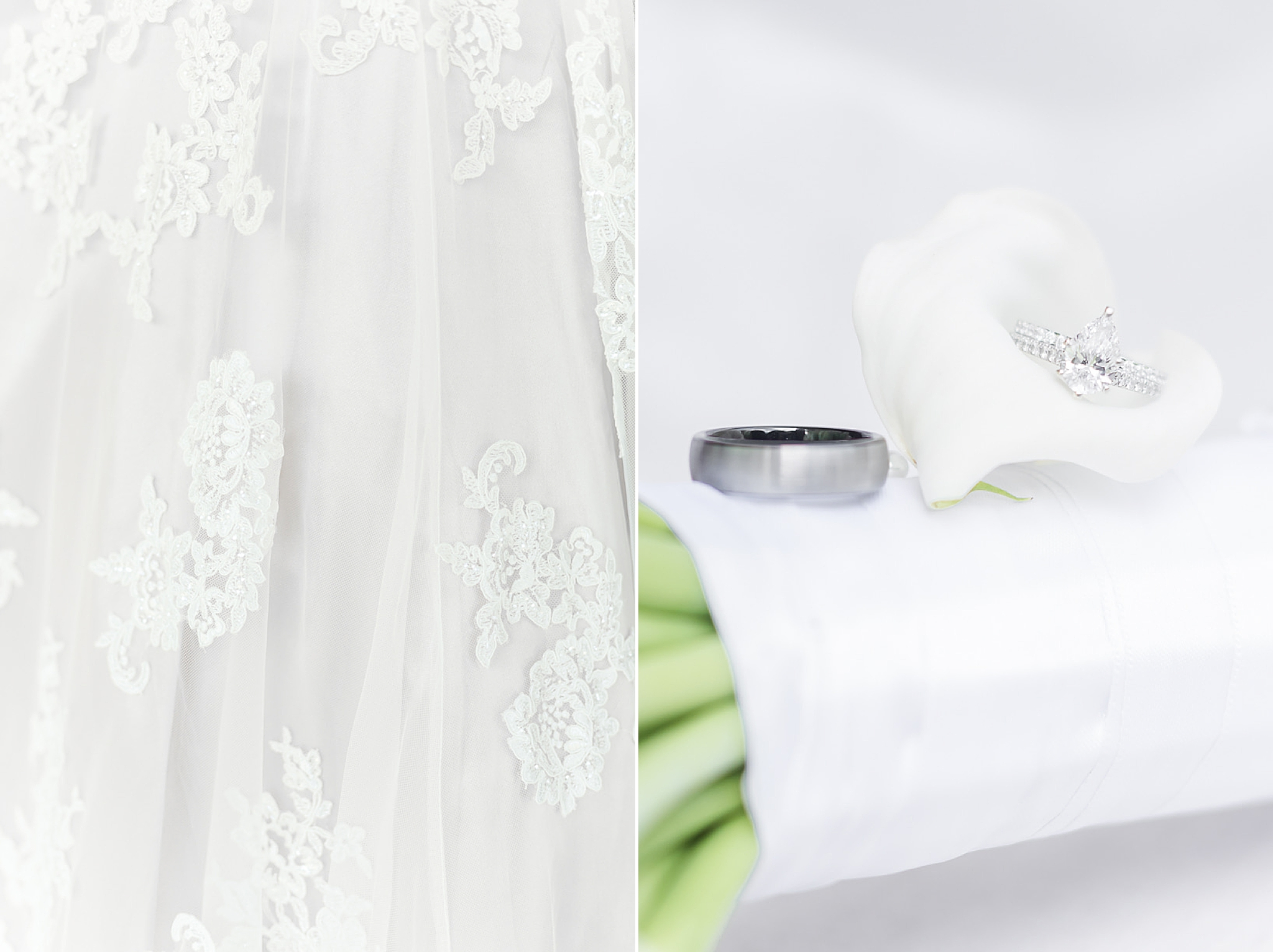 bride's details and wedding rings on calla lillies
