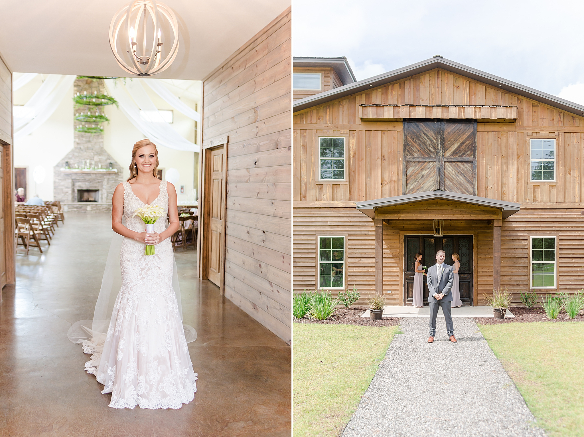 bride approaches door at Izenstone for first look