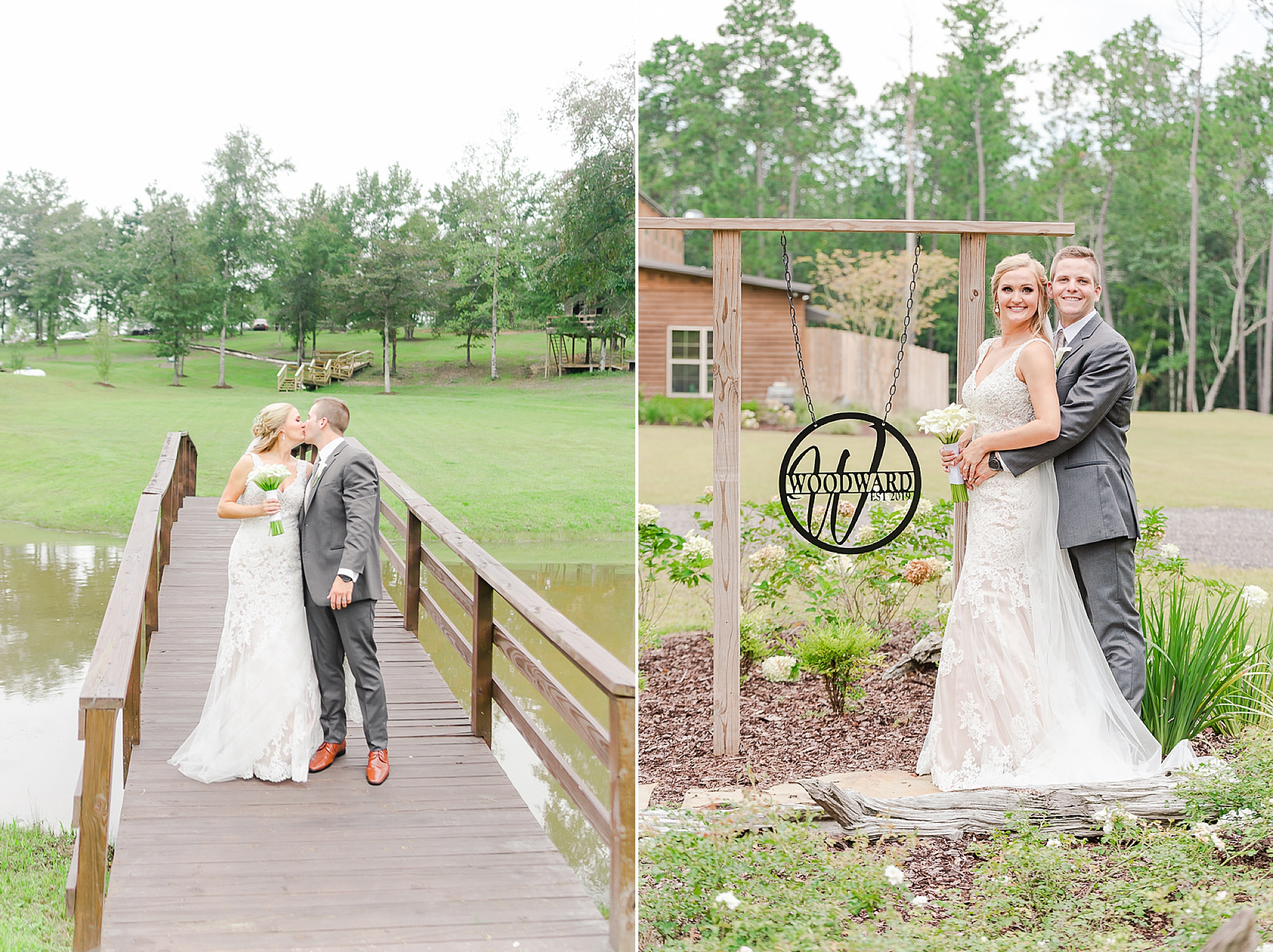 Alabama couple poses by metal sign at Izenstone