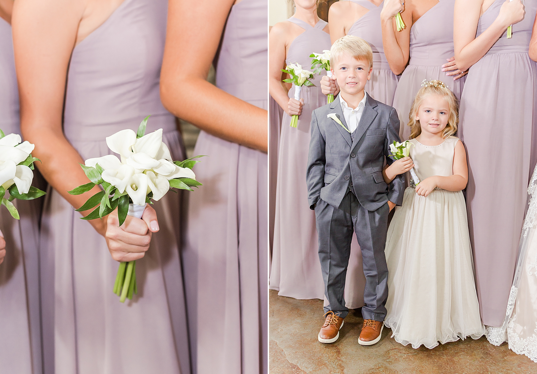 bridal party poses by stone fireplace at Izenstone