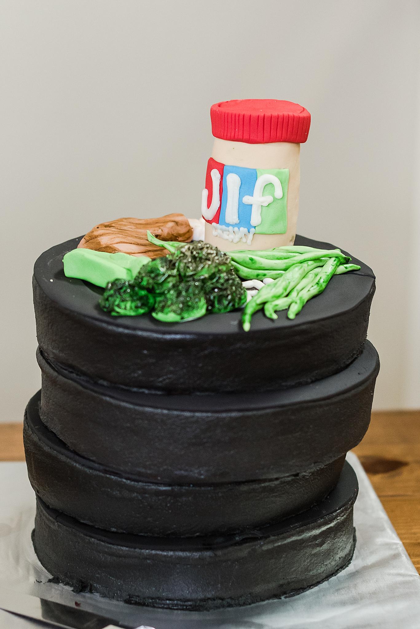 groom's custom wedding cake for Izenstone wedding day