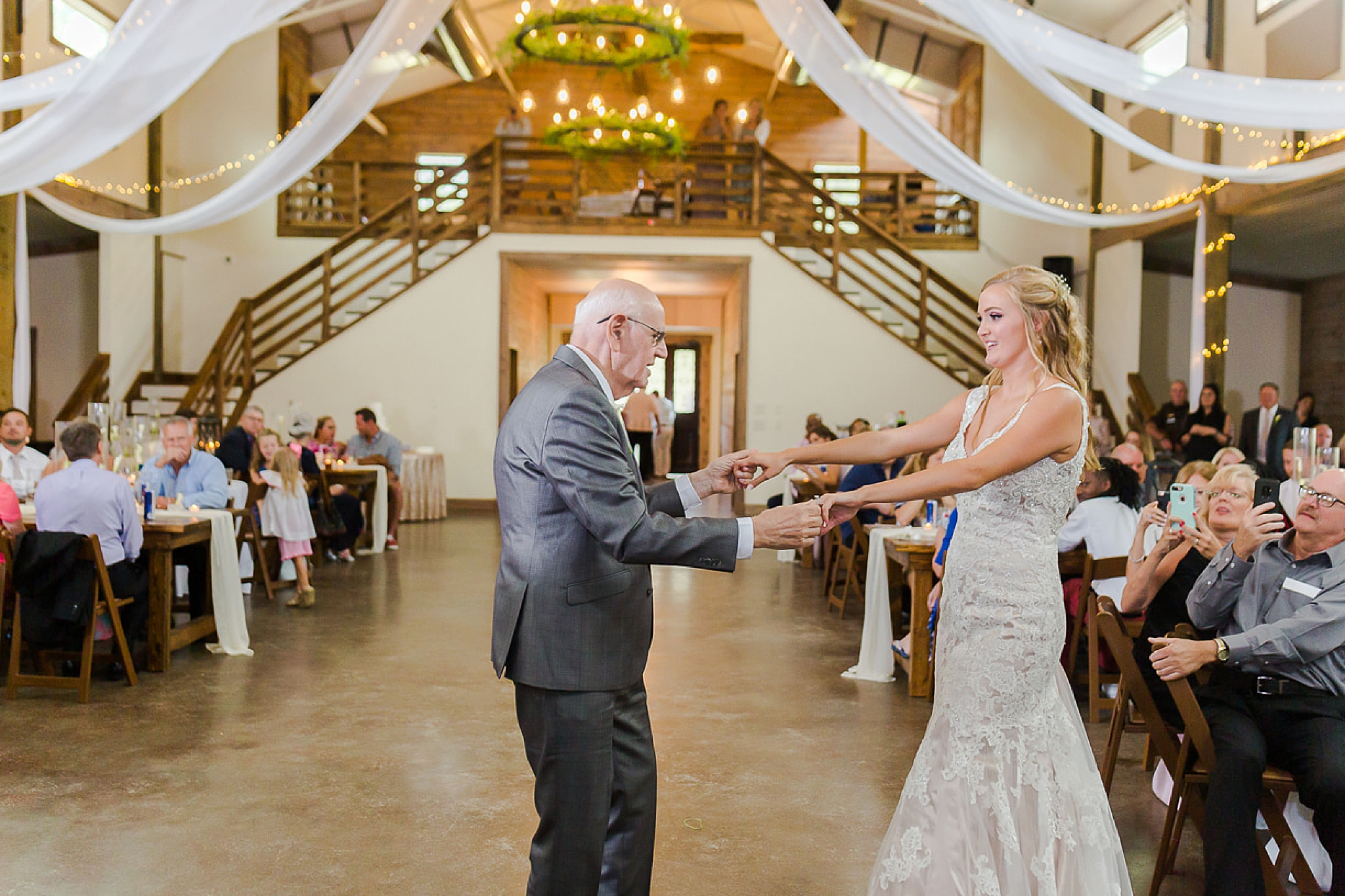 grandfather and bride dance during Spanish Fort AL wedding reception