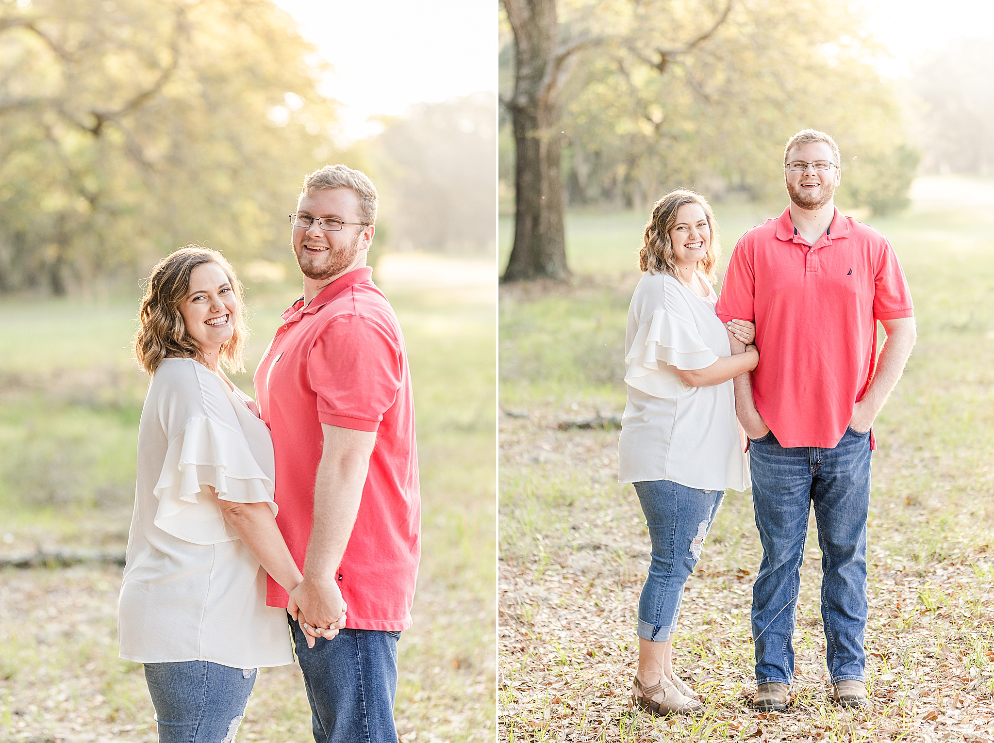 spring Gulf State Park Engagement Session with couple in casule attire