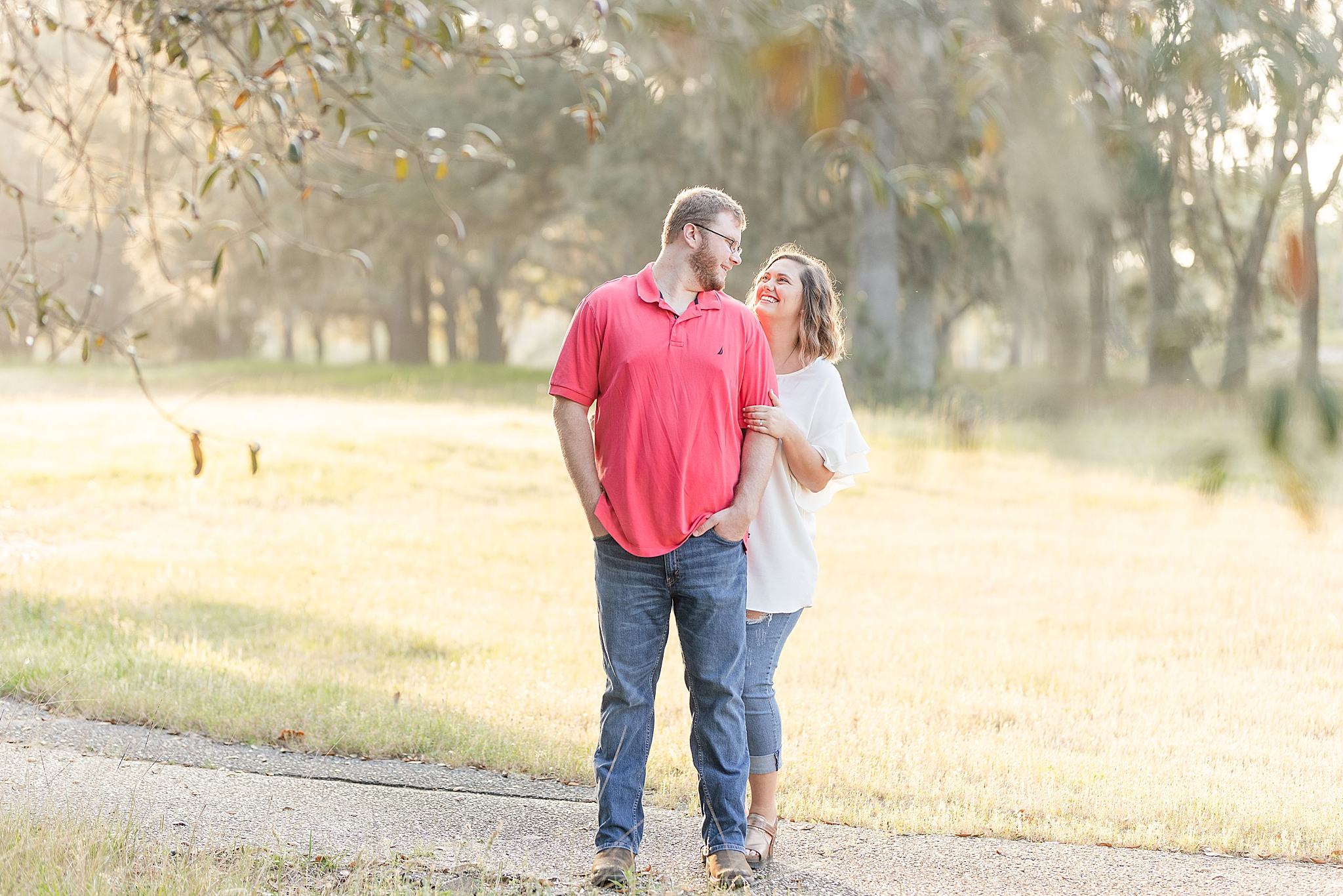 engagement session in Alabama with couple in casual attire