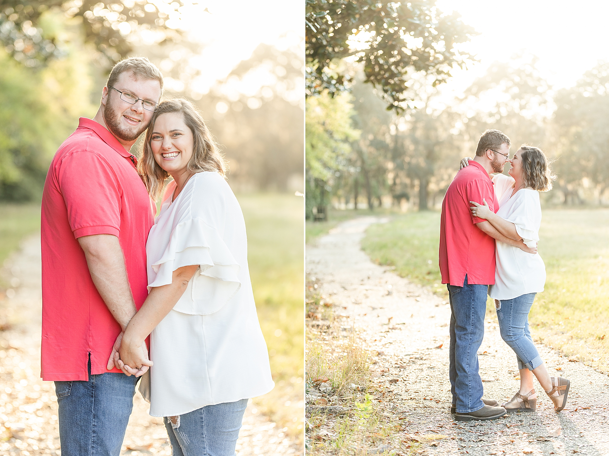 couple poses at sunset during engagement session at Gulf State Park