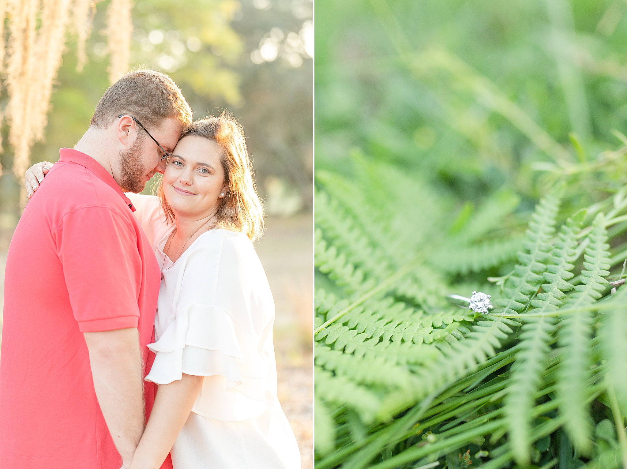 bride and groom stand together next to fern with engagement ring