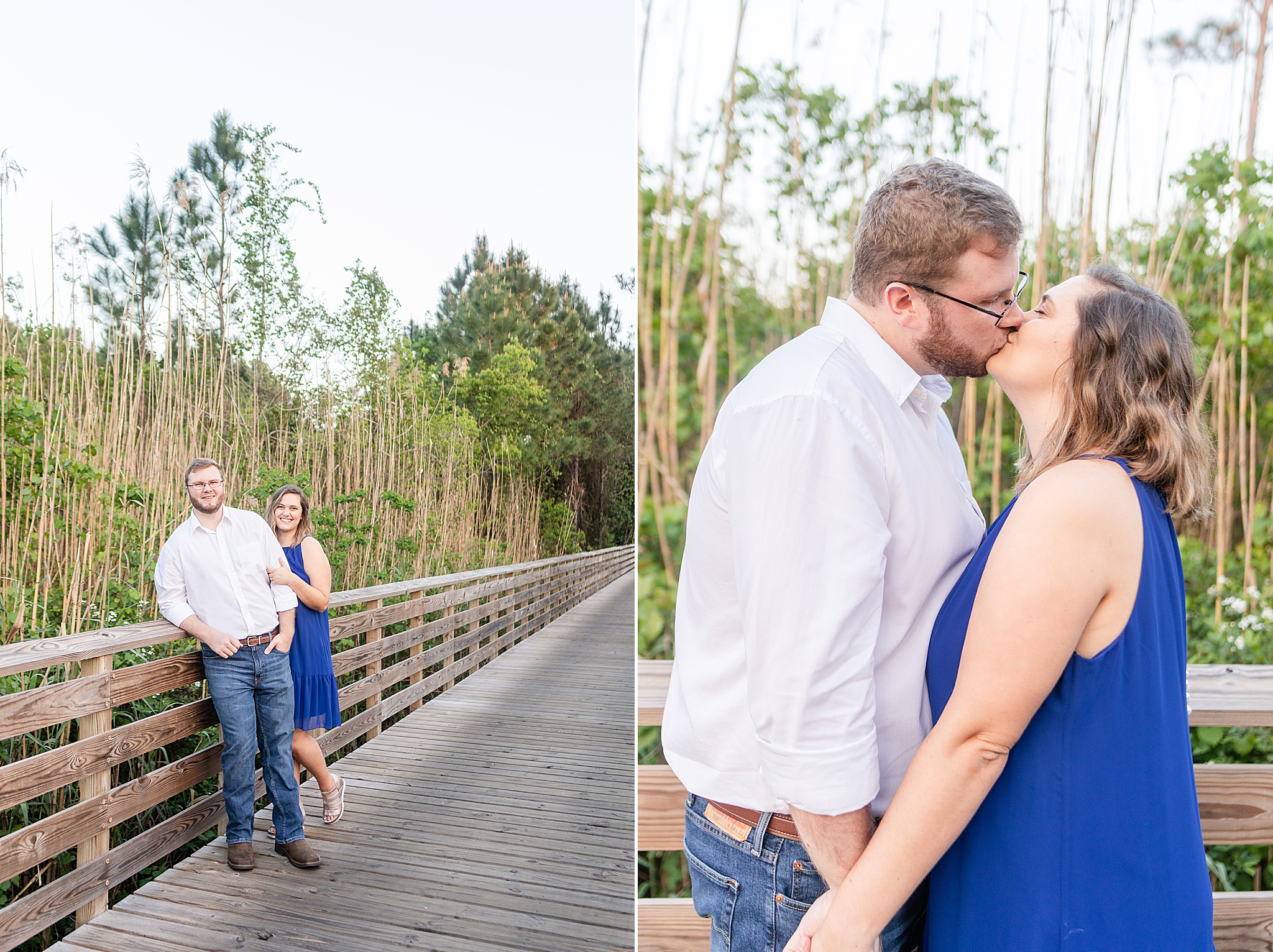 couple walks on pathway during Gulf State Park engagement session