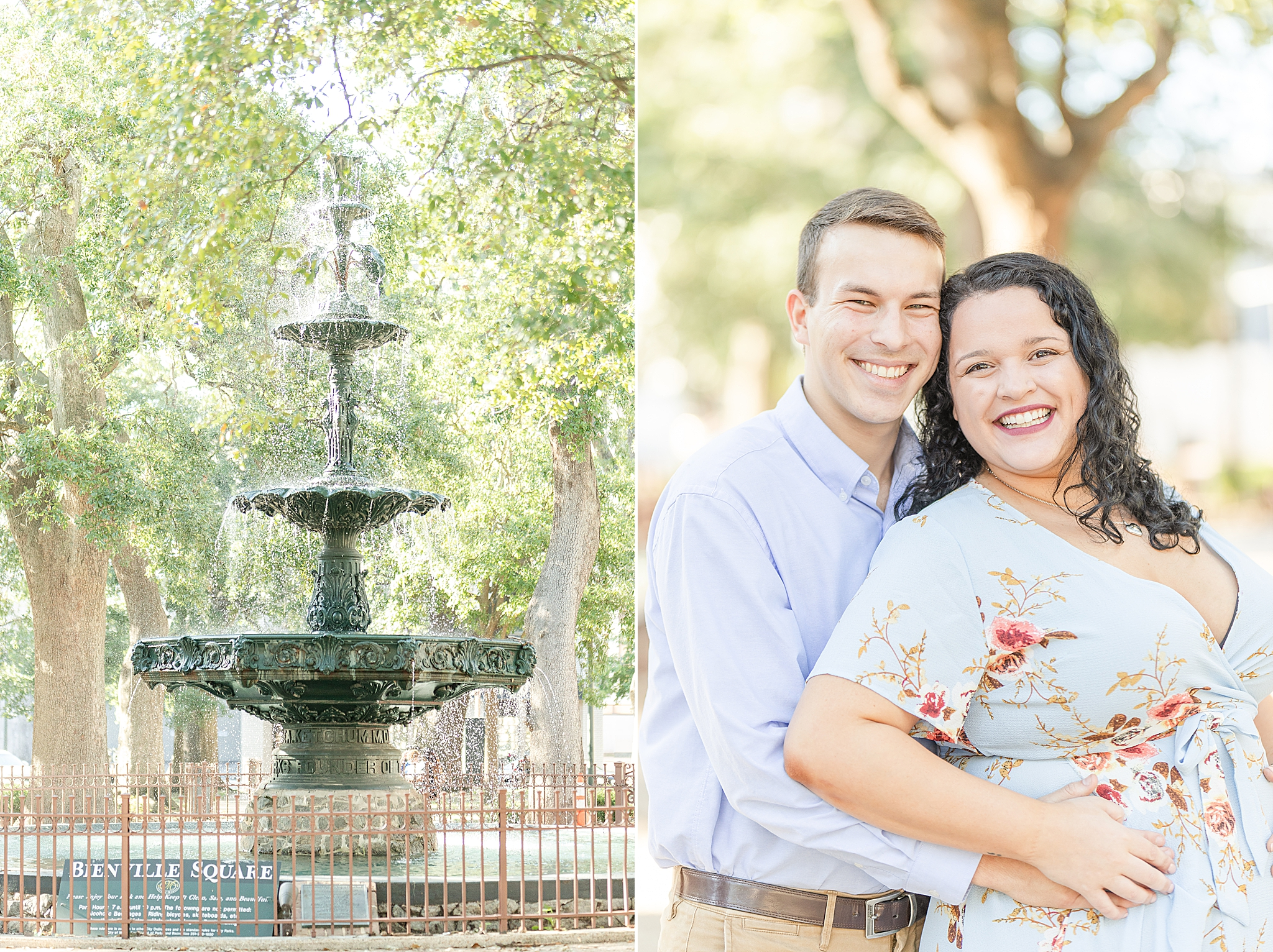 couple poses by fountain in Bienville Square