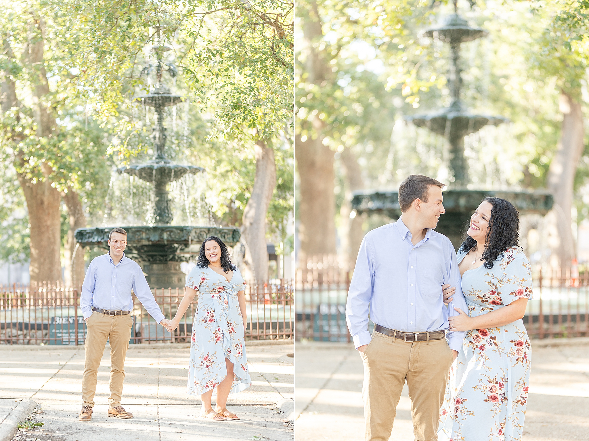 Bienville Square engagement session with Fairhope wedding photographers Goodie and Smith Weddings