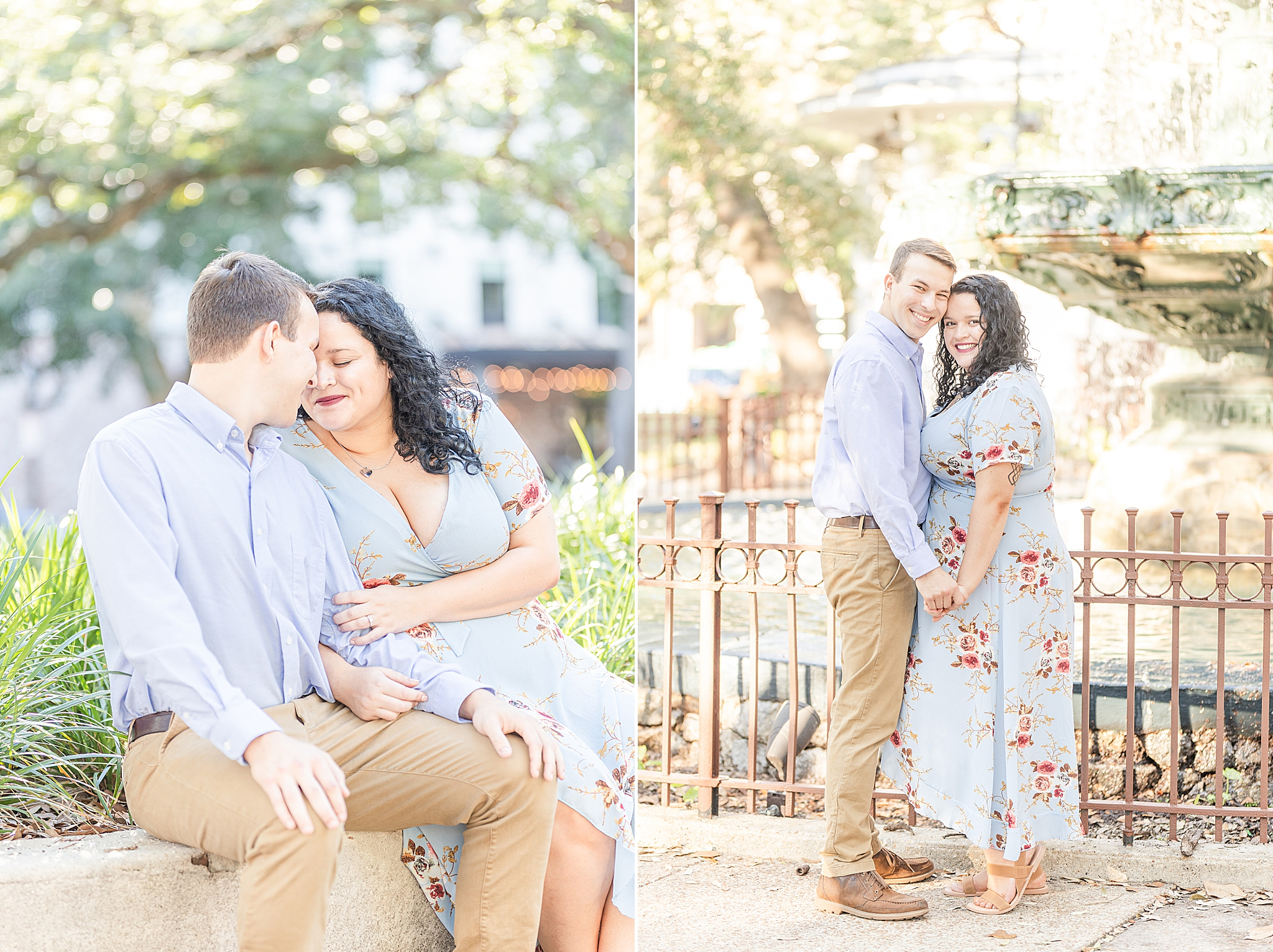 engaged couple sits on bench in Fairhope AL