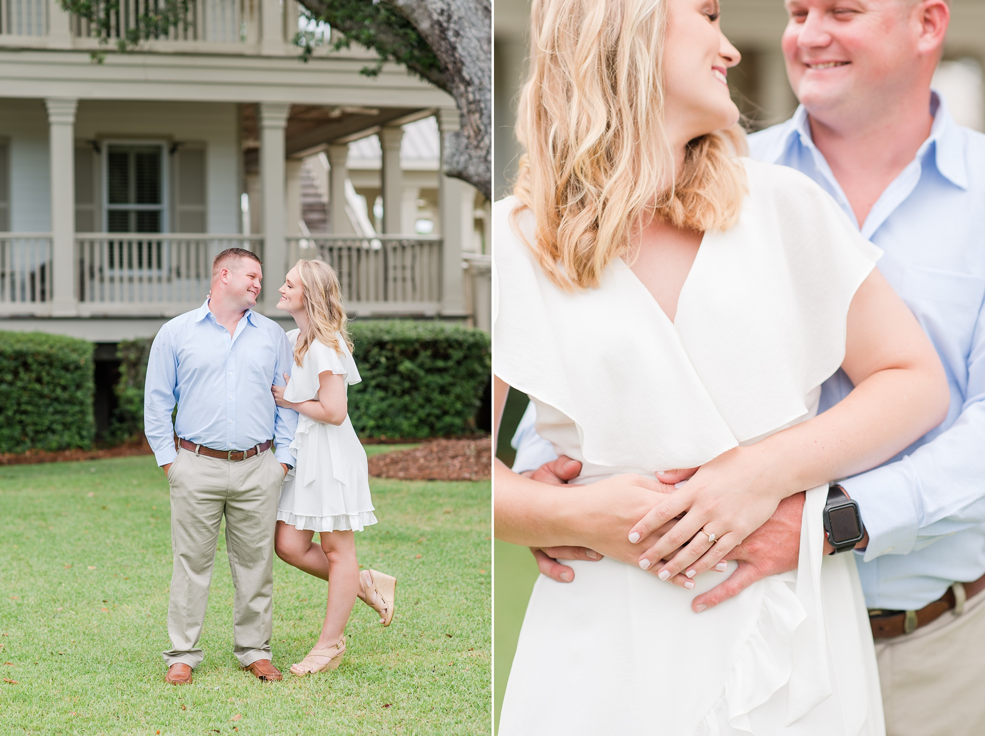Alabama engagement session with bride in white dress