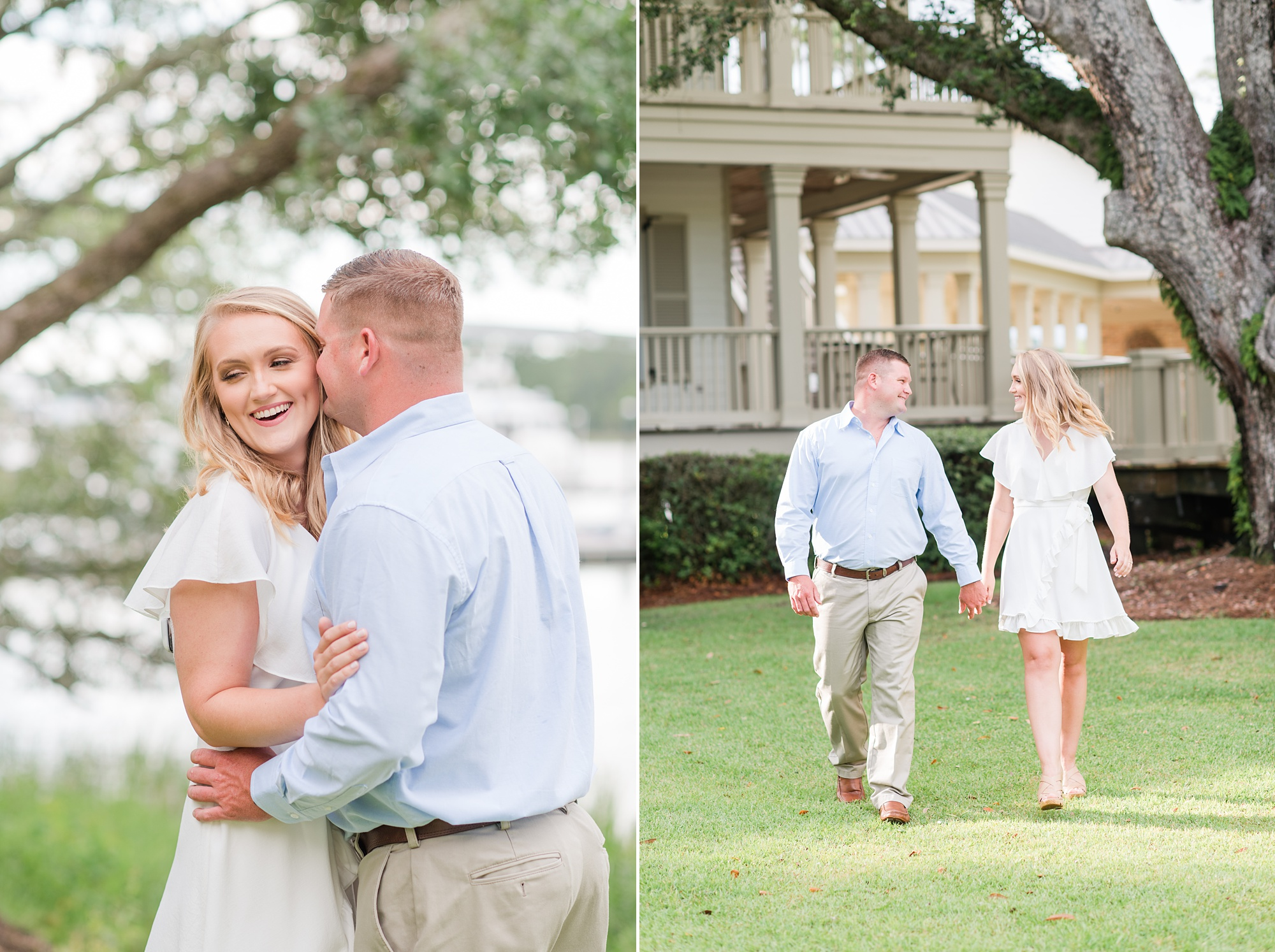 Wharf at Orange Beach engagement photos of young couple