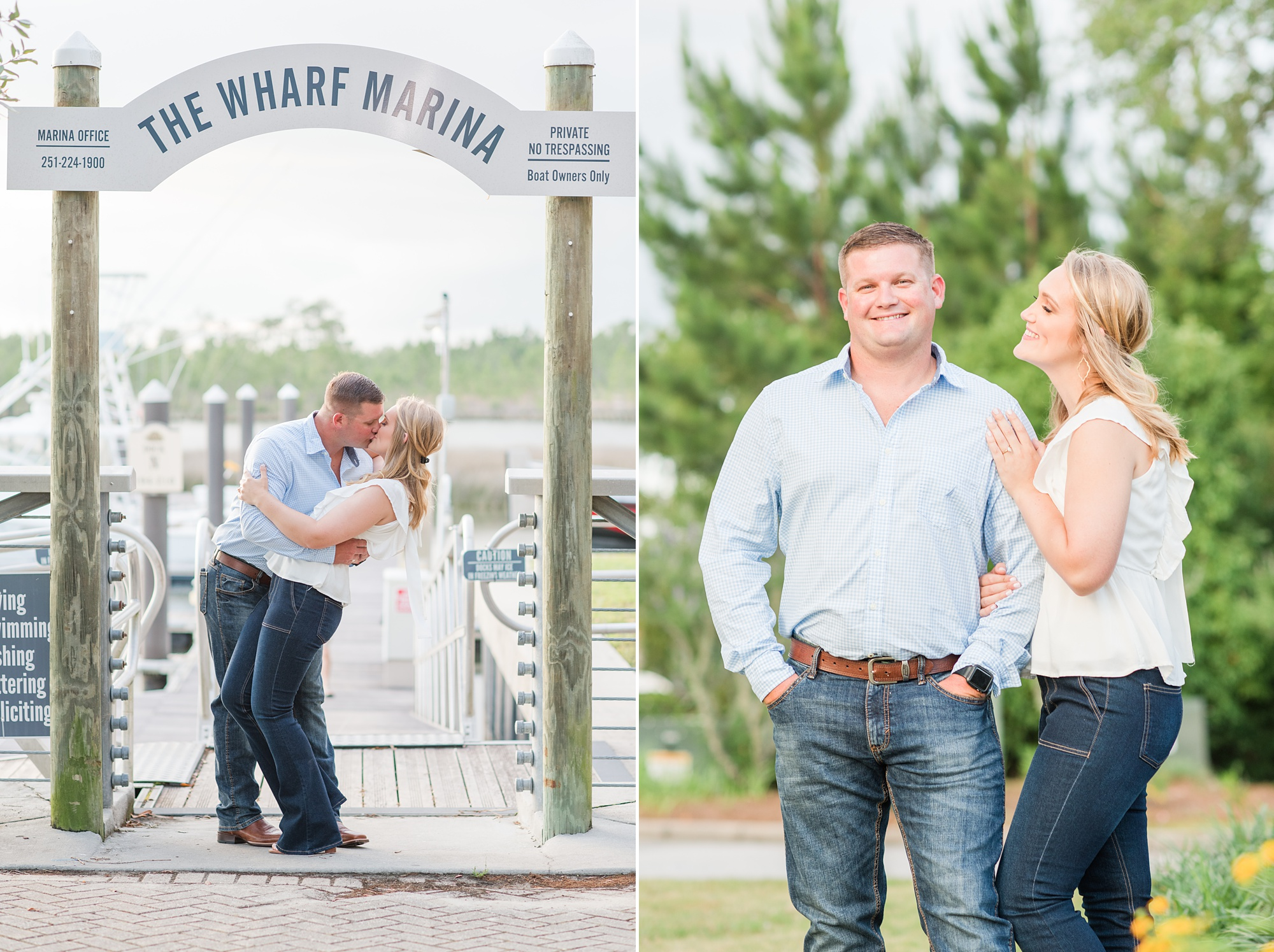 engaged couple kisses under sign at Wharf at Orange Beach