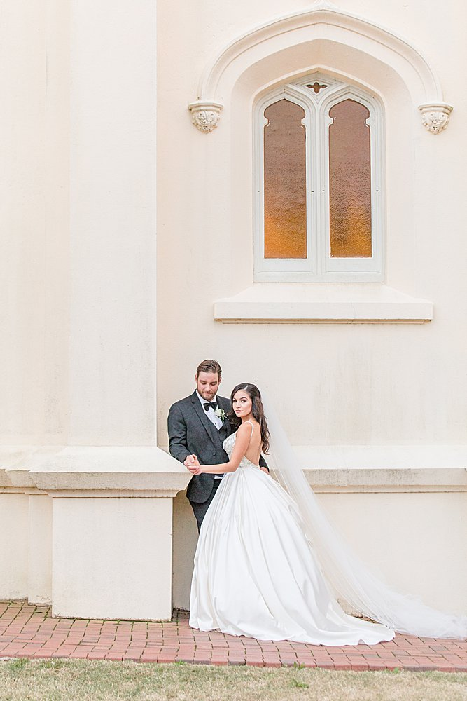 Bride and Groom Portraits at Spring Hill College in Mobile, Alabama