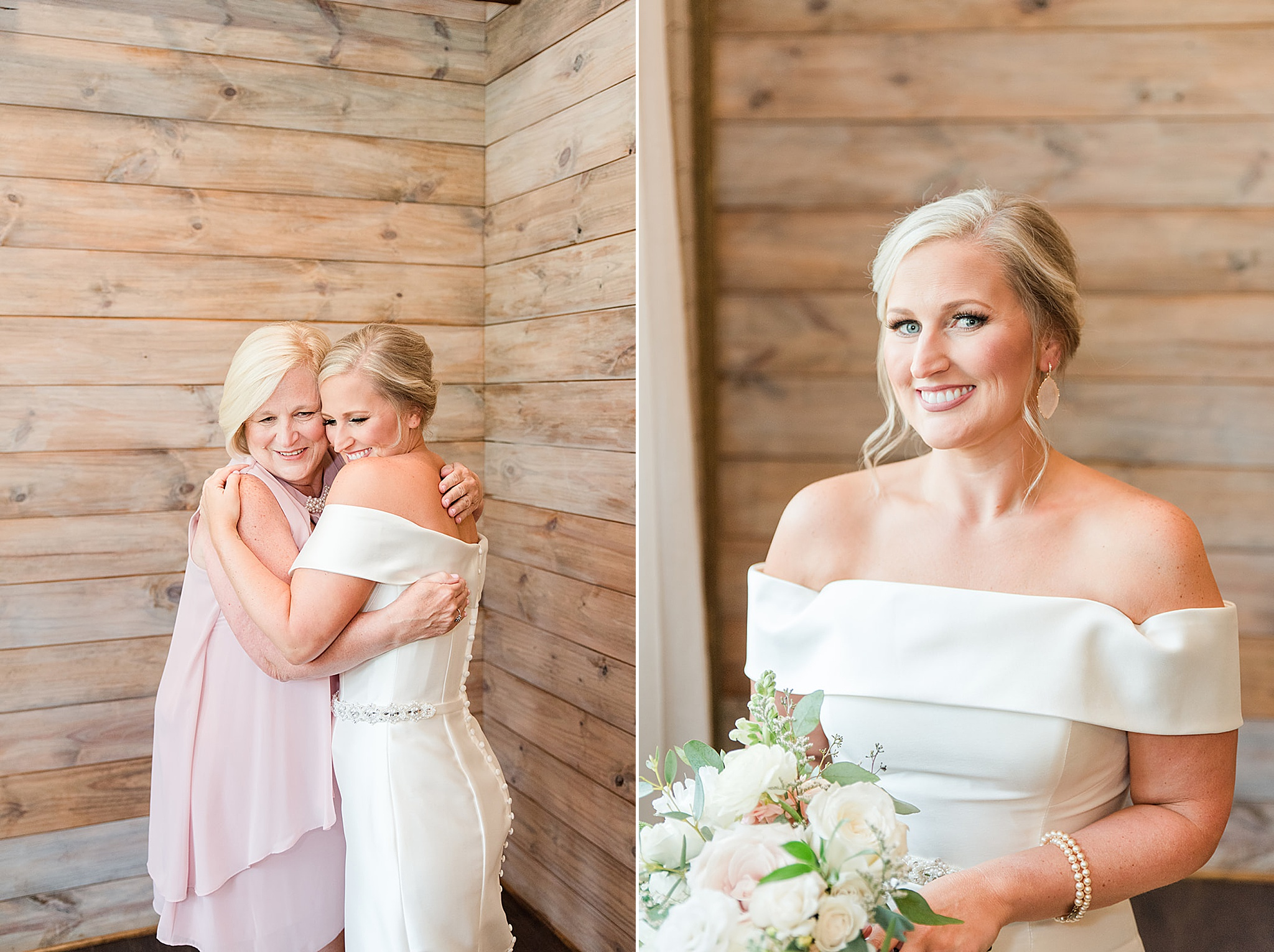 Bride prepares for wedding day with mother