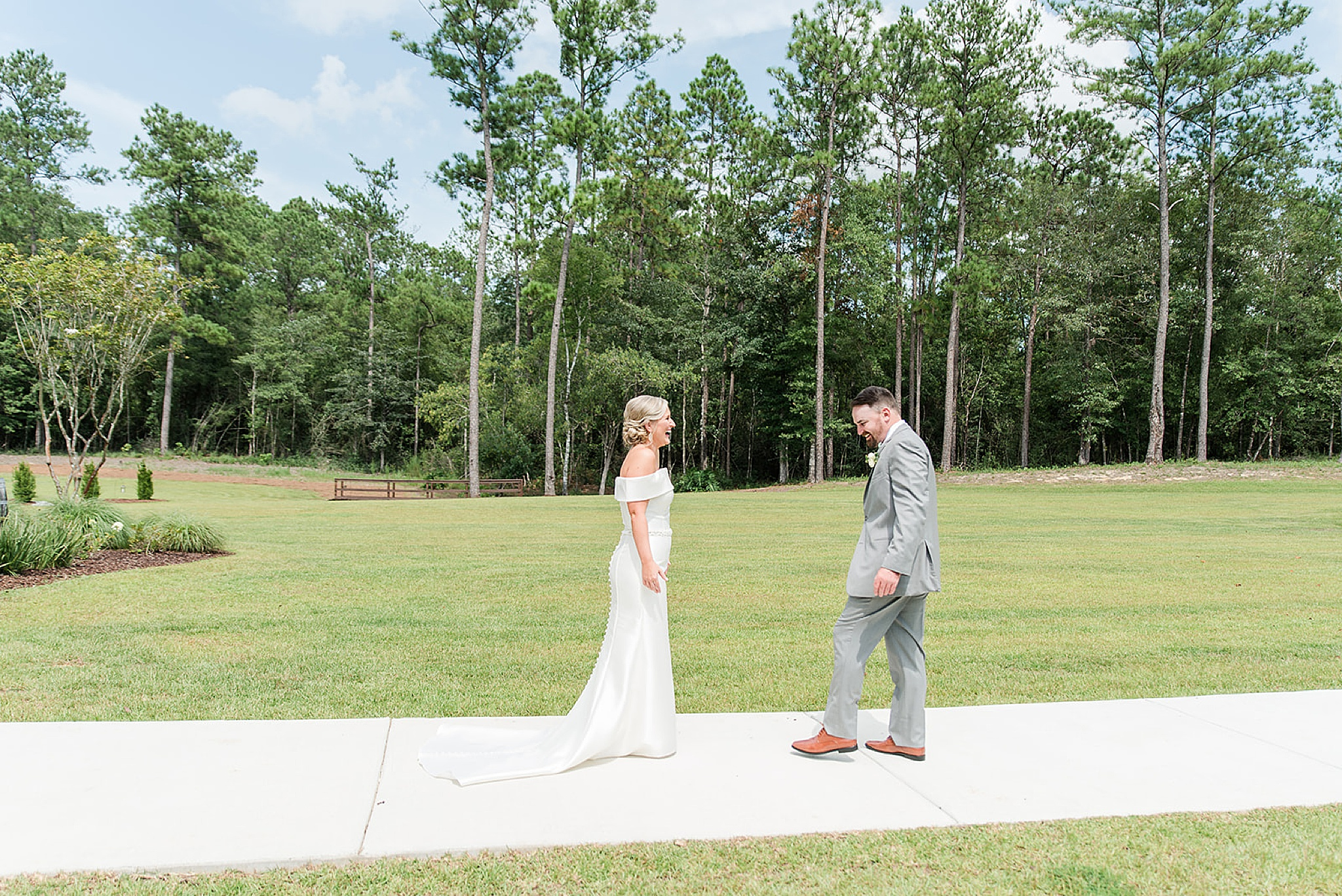 bride and groom's first look on Alabama wedding day