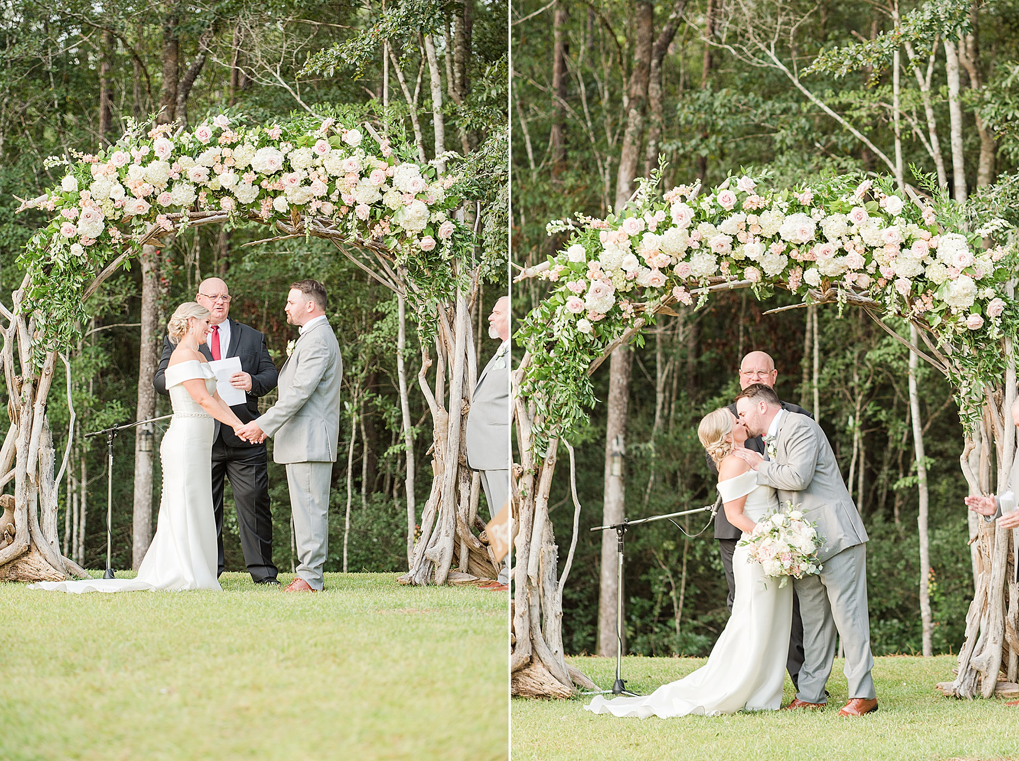 bride and groom kiss during summer wedding ceremony in Alabama
