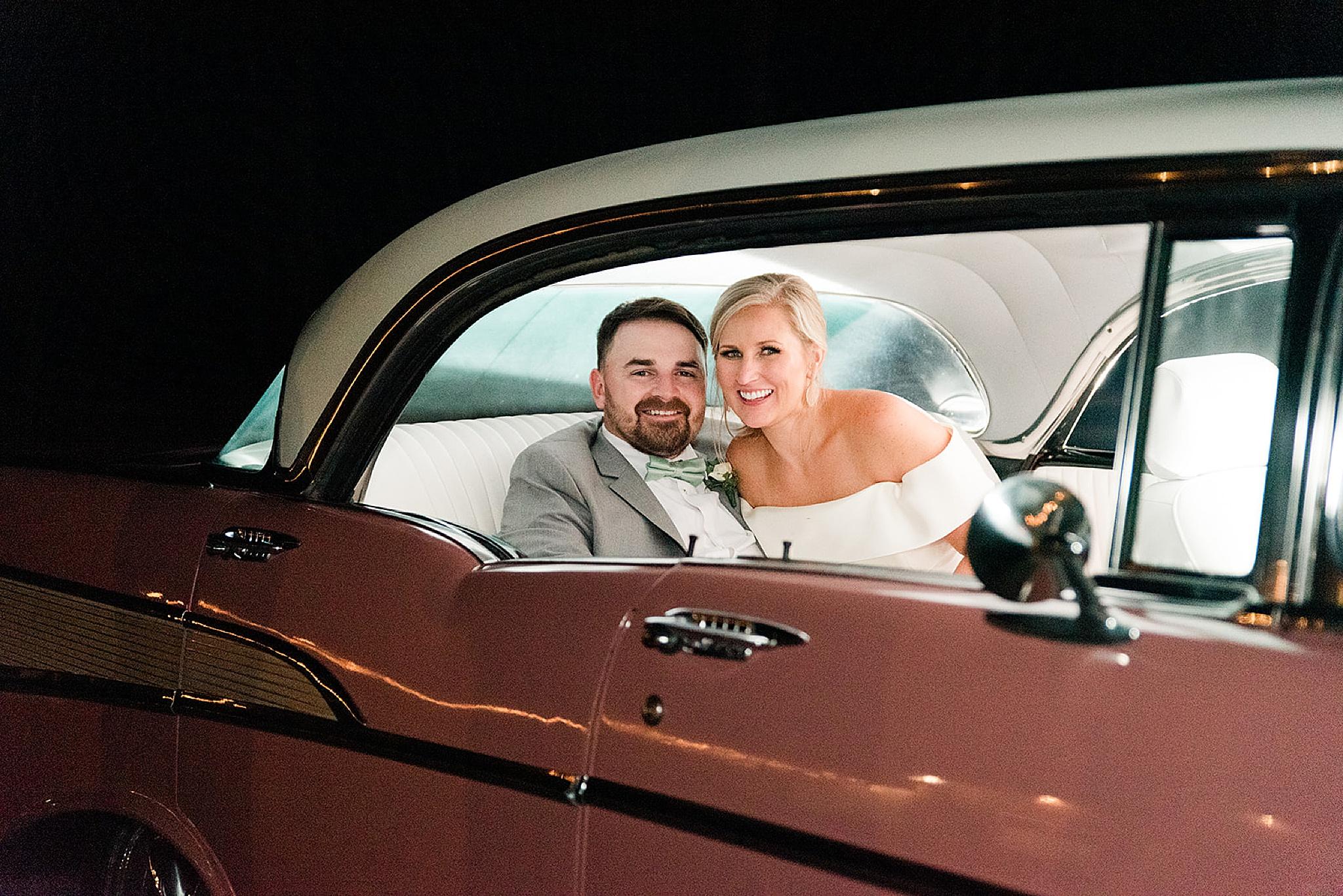 classic car getaway for Izenstone wedding day