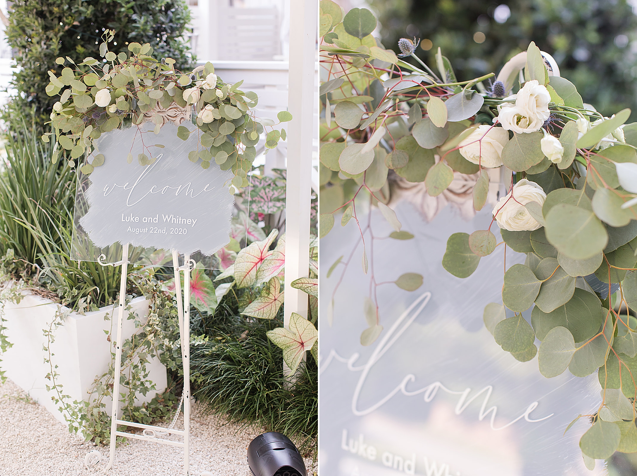relaxed summer reception details with eucalyptus and ivory flowers