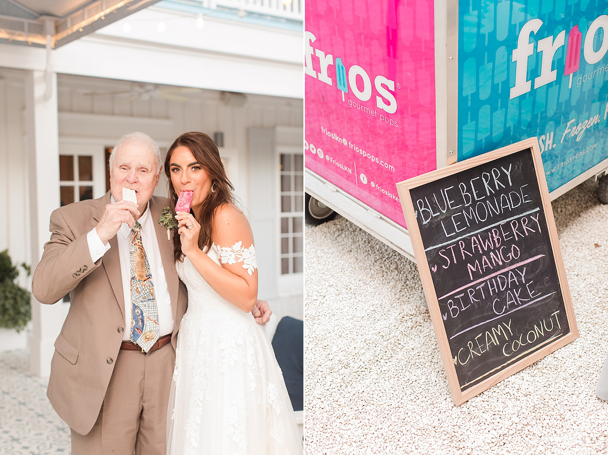 bride poses with grandfather with popsicle