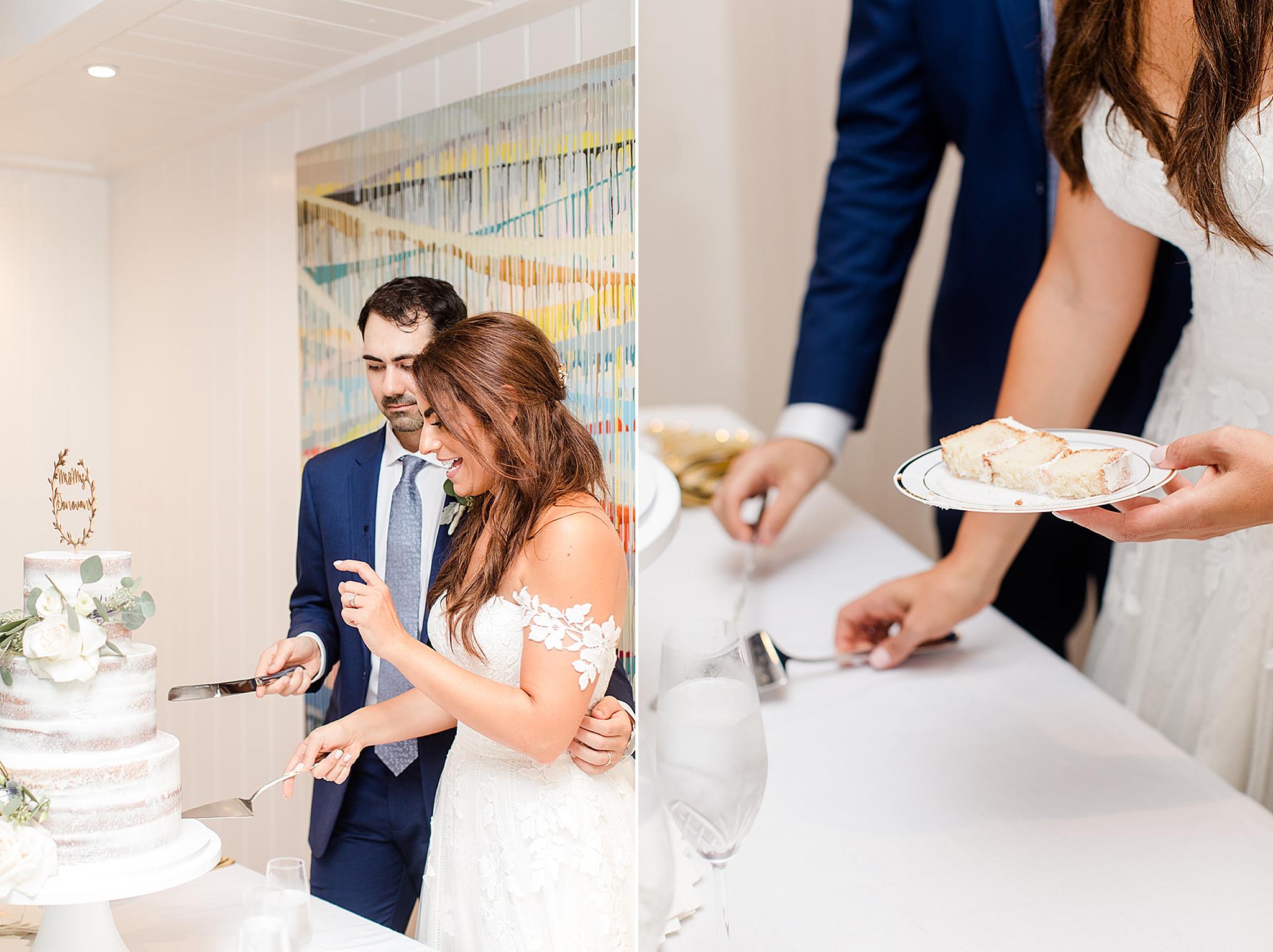 bride and groom cut wedding cake in Fairhope AL
