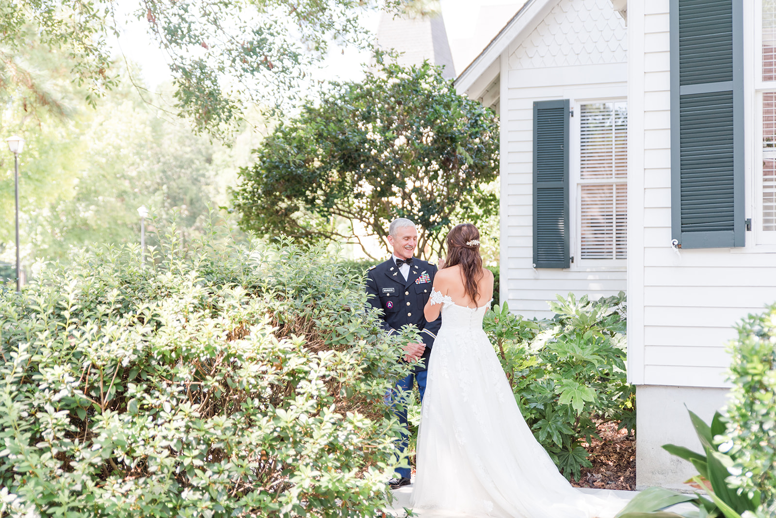 dad and daughter first look before Fairhope AL destination wedding