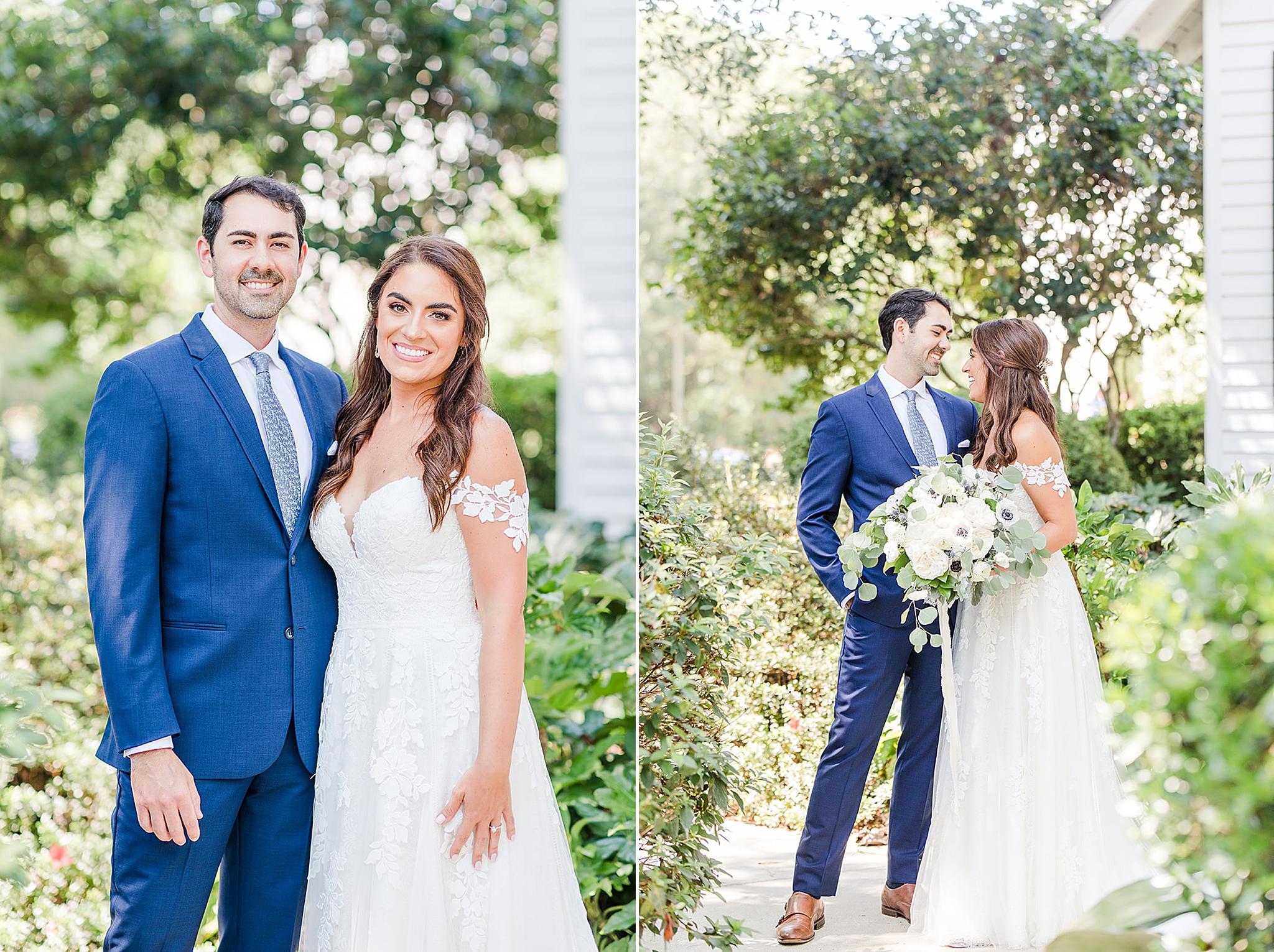 bride and groom pose during Fairhope AL destination wedding portraits