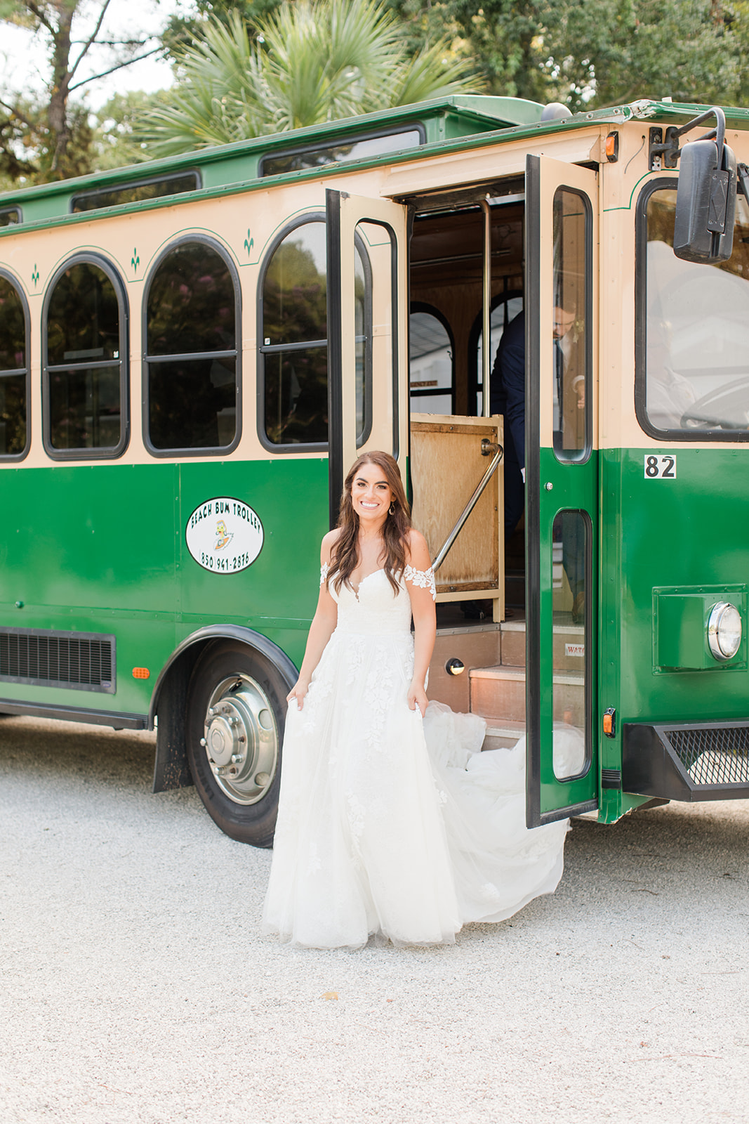 Fairhope AL trolley takes bride and groom to Little Point Clear