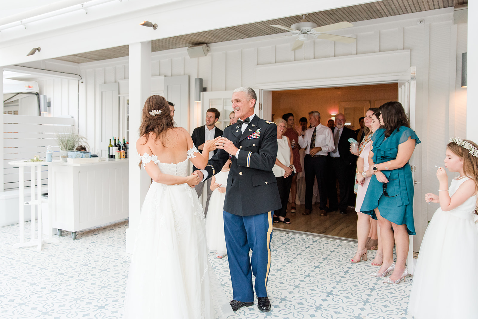 bride and dad dance during Little Point Clear wedding reception