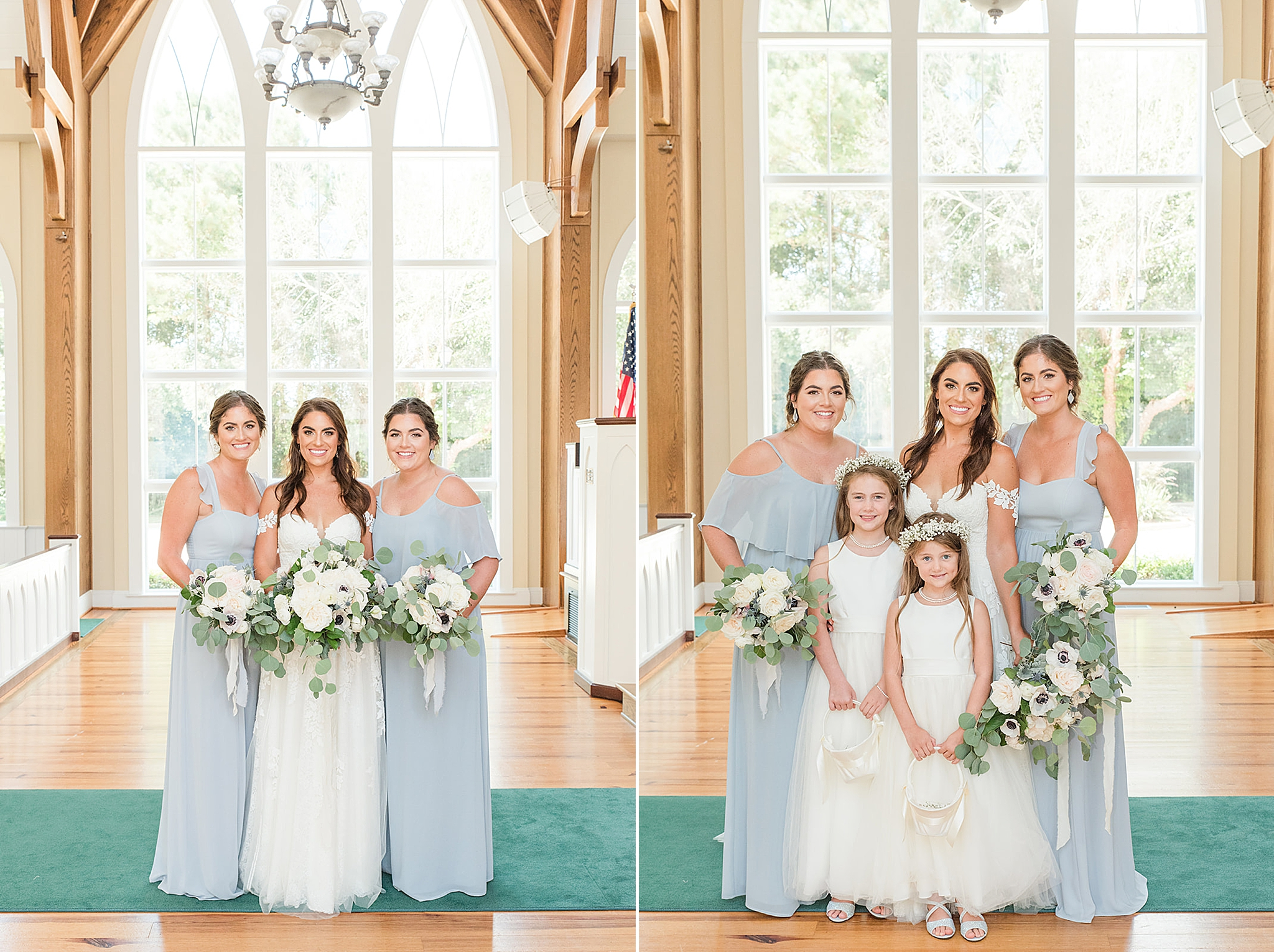 bridesmaids in pale blue dresses pose before St. Francis at the Point ceremony