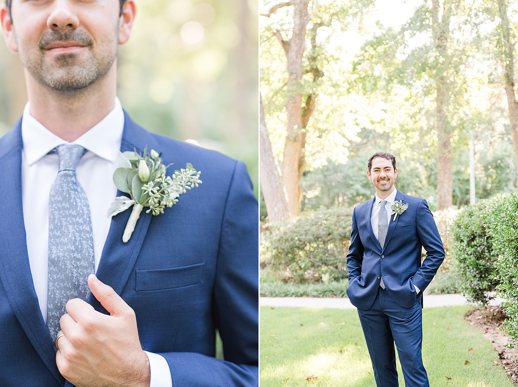 groom in navy suit with green boutonnière poses