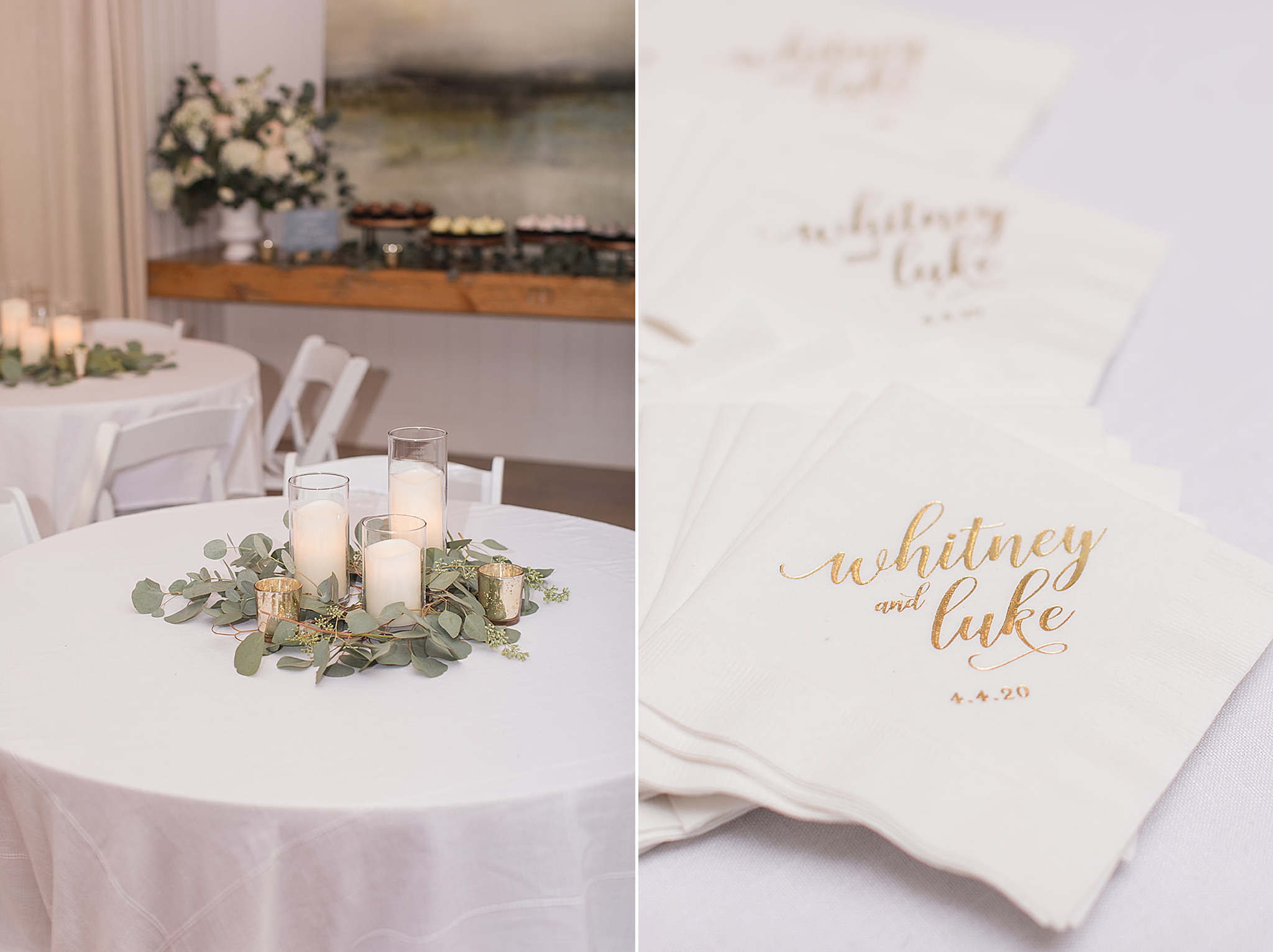 summer wedding reception details at Little Point Clear