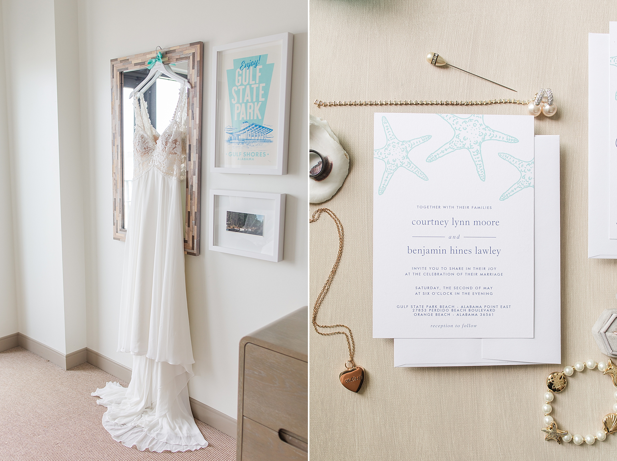 beach wedding details and wedding gown hanging in hotel