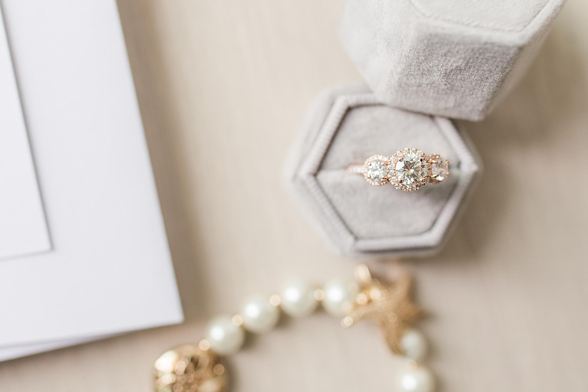 wedding ring in grey ring box