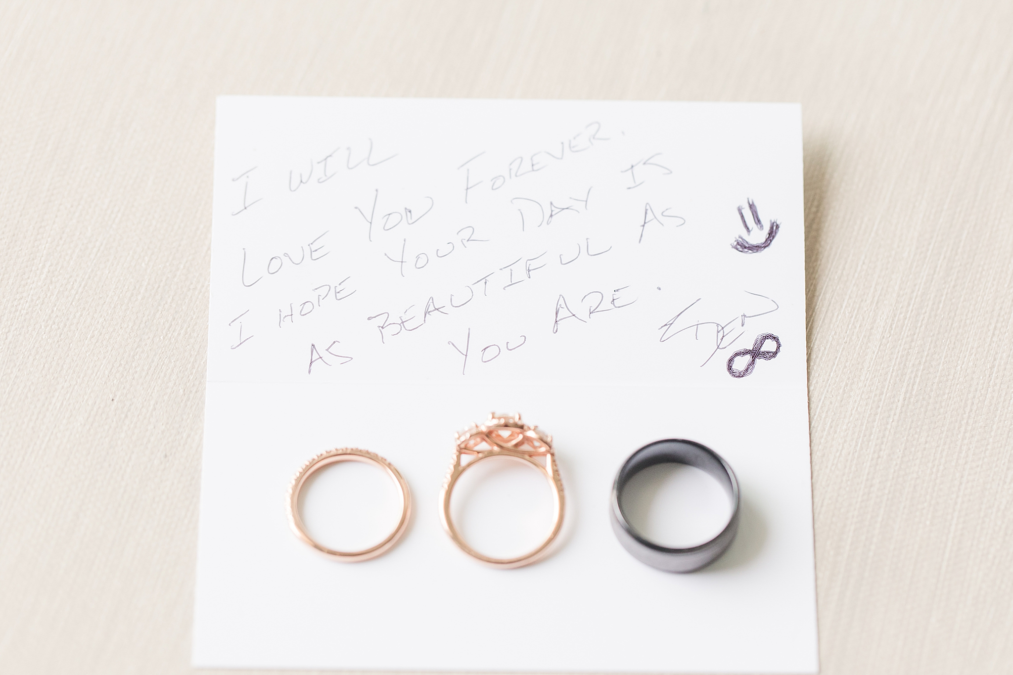 note from the groom and wedding rings