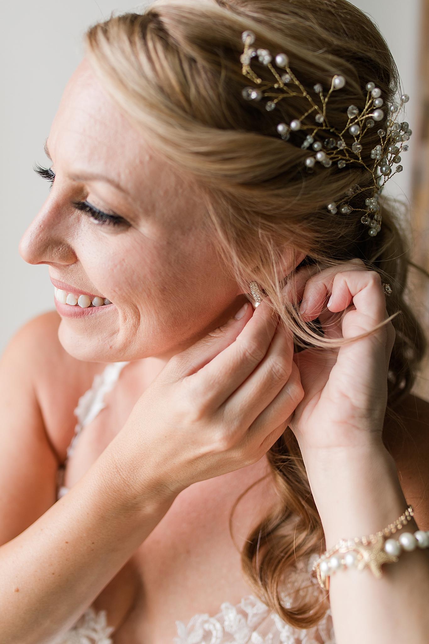 beach bride prepares for Gulf Shores Wedding Chapel wedding