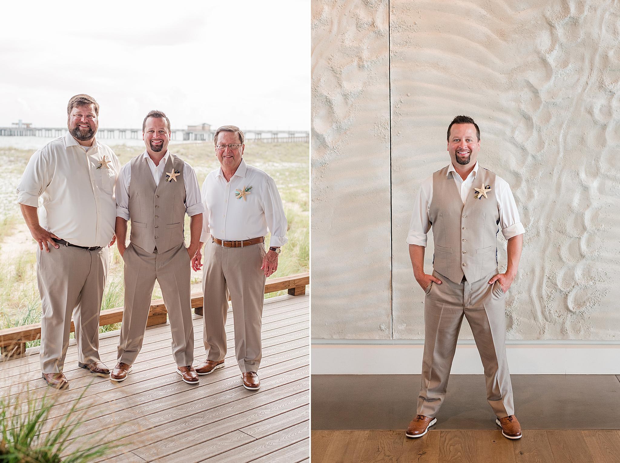 groom poses by hotel with groomsmen before beach wedding