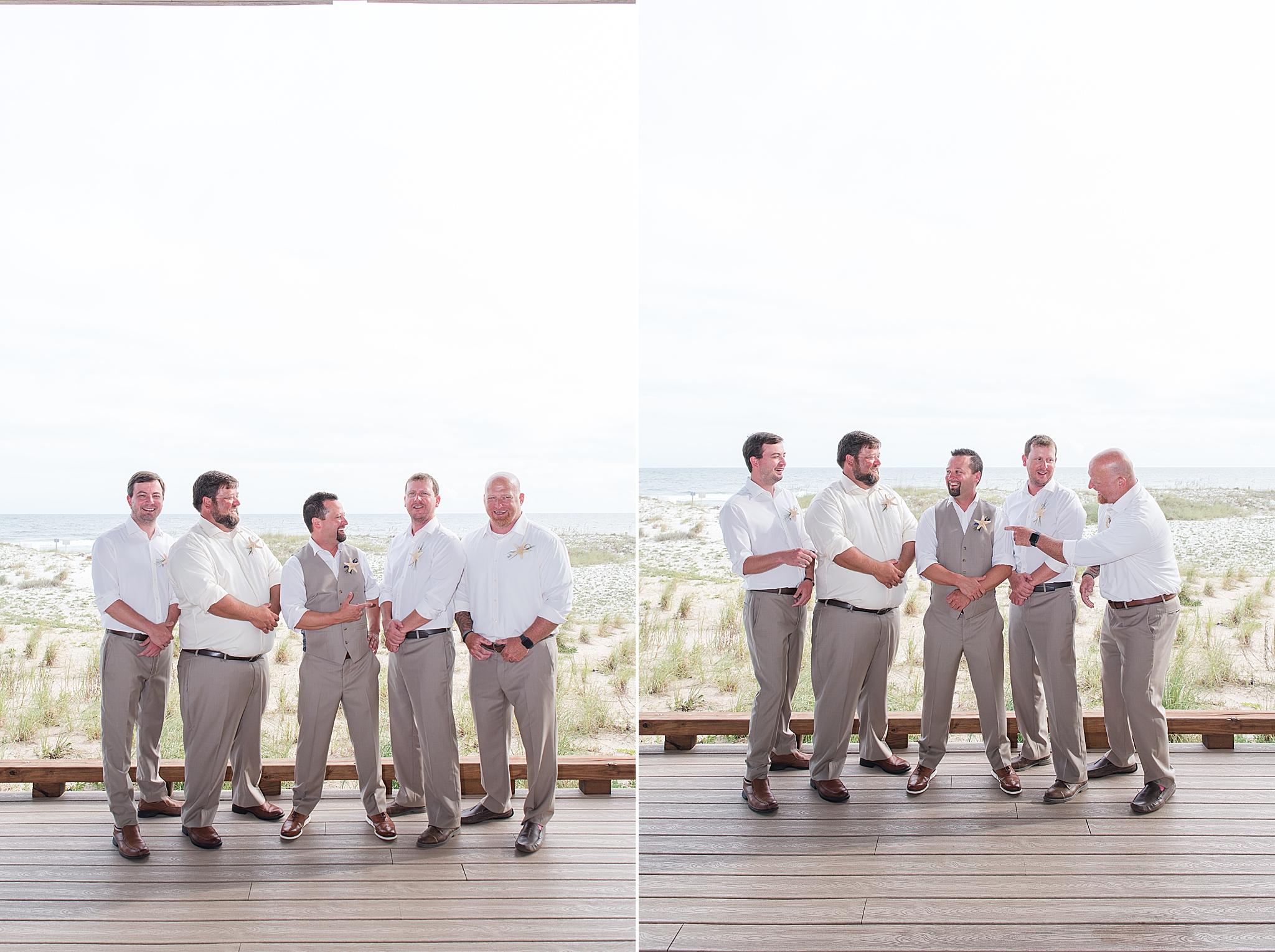 groom and groomsmen pose before oceanfront wedding