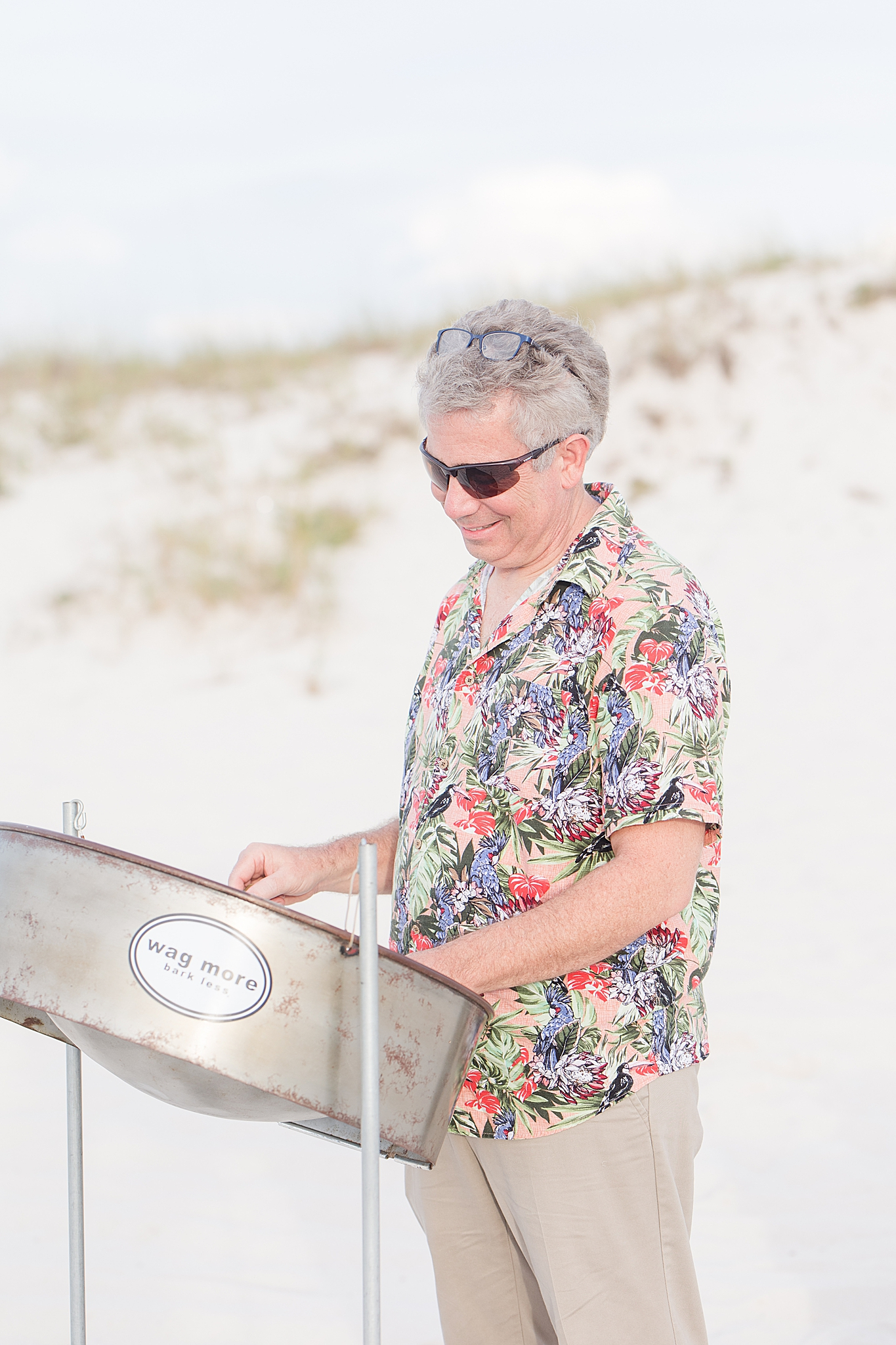 Alabama musician plays steel drums before beach wedding