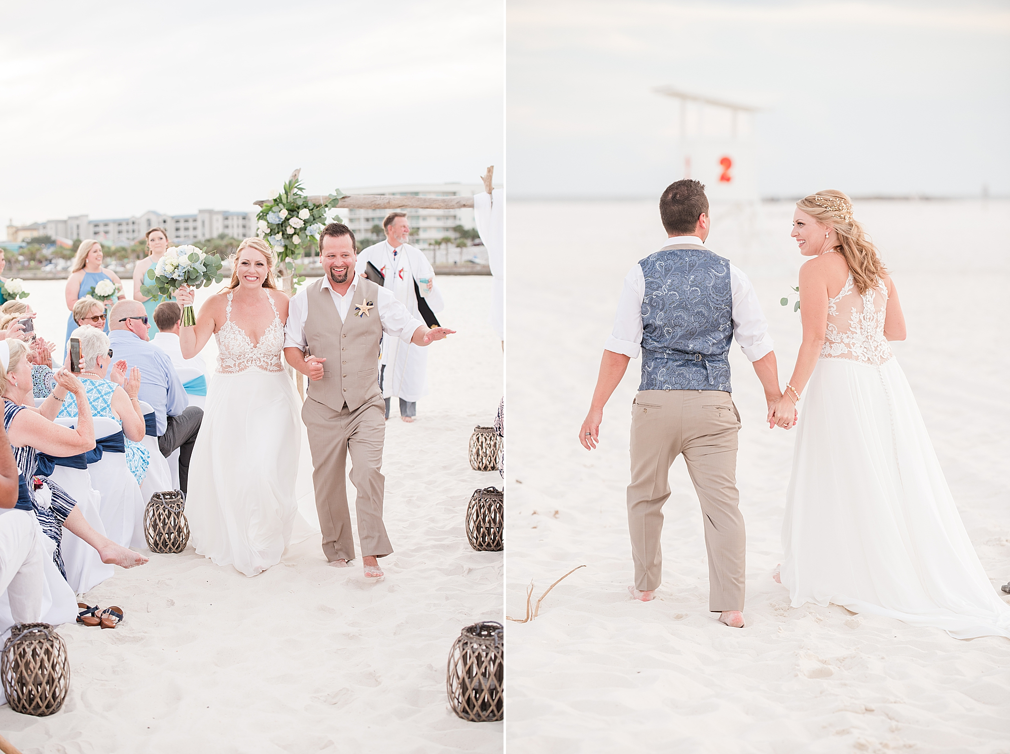 bride and groom recess up aisle after beachfront wedding