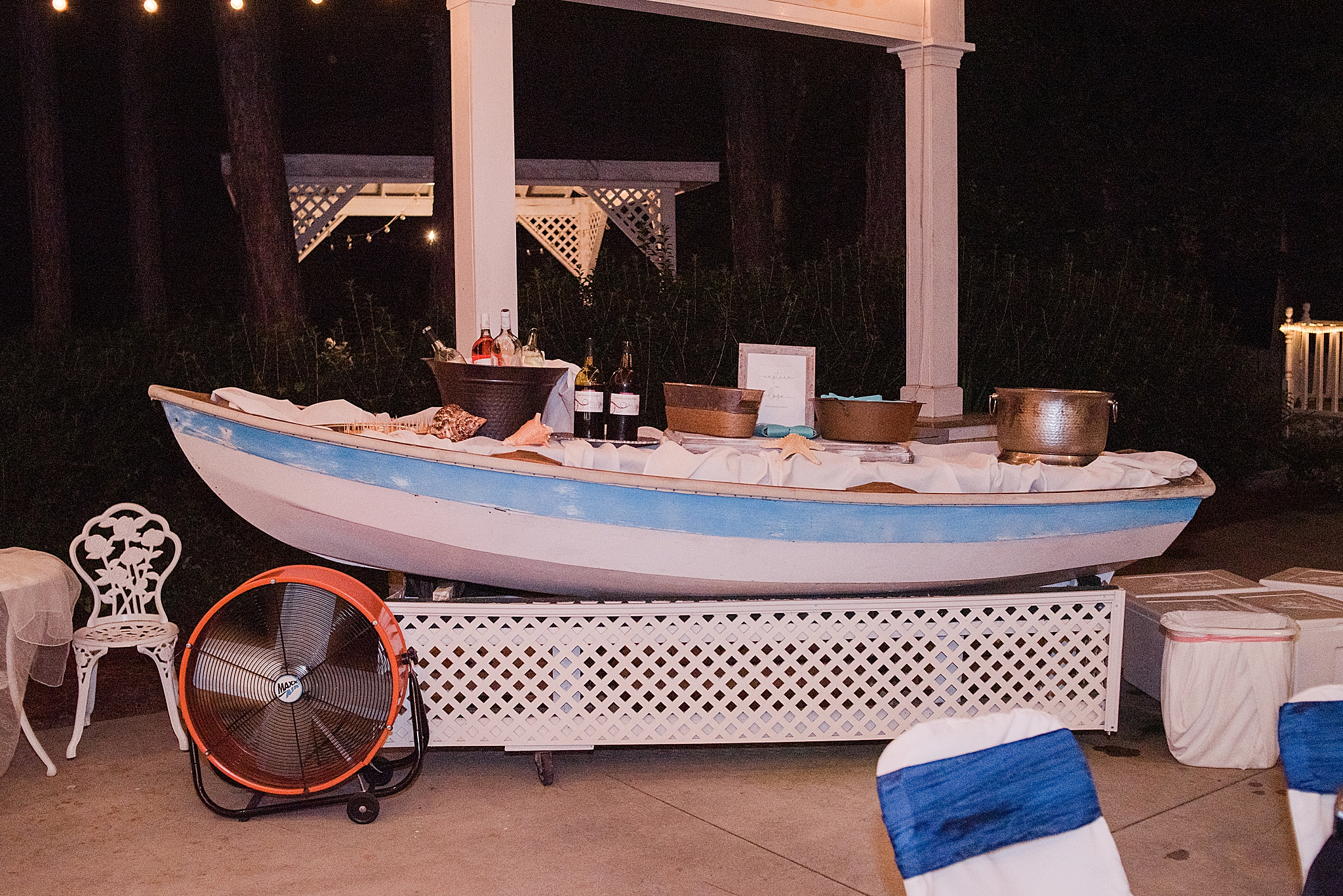 boat bar at Gulf Shores Wedding Chapel beach inspired reception