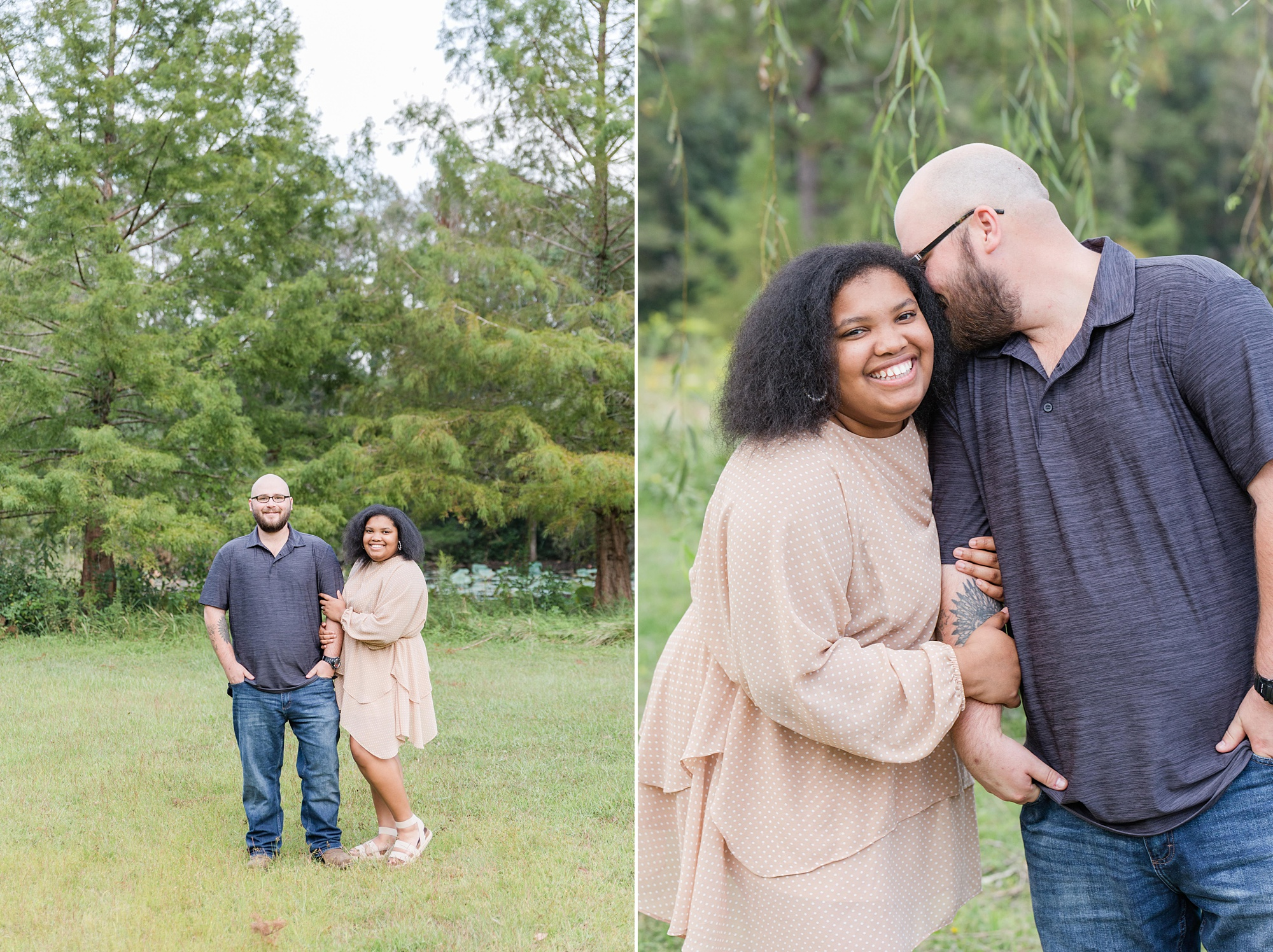 Alabama couple poses together during Japanese Garden Engagement Session