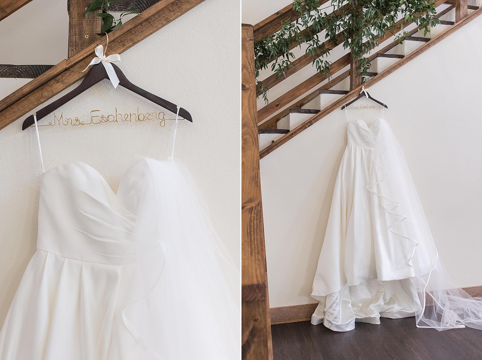 bridal gown hangs in bridal suite at Izenstone